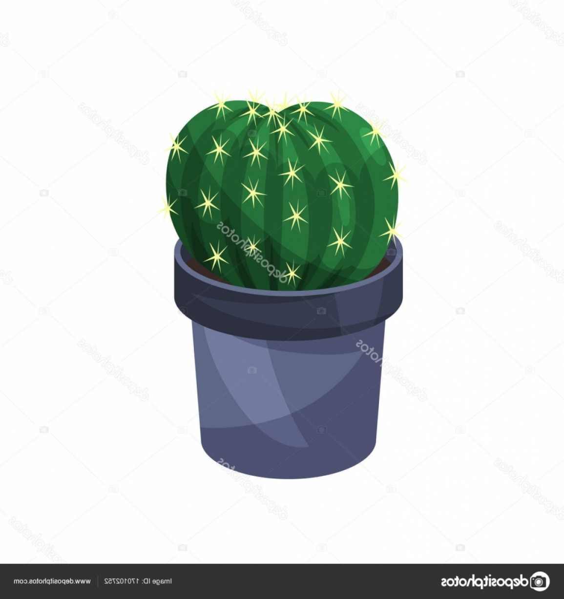 Potted Cactus Plant Vector: Stock Illustration Cactus Houseplant Potted Plant Vector