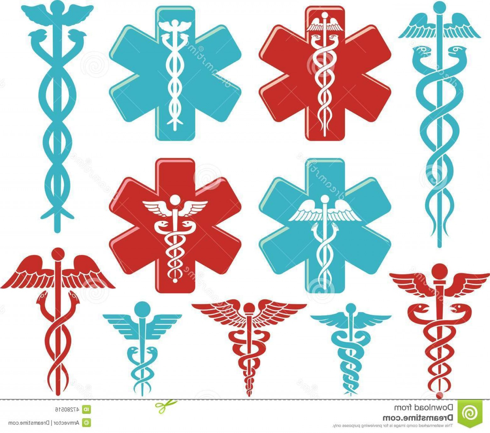 Medical Scepter Vector: Stock Illustration Caduceus Medical Symbol As Vector Image