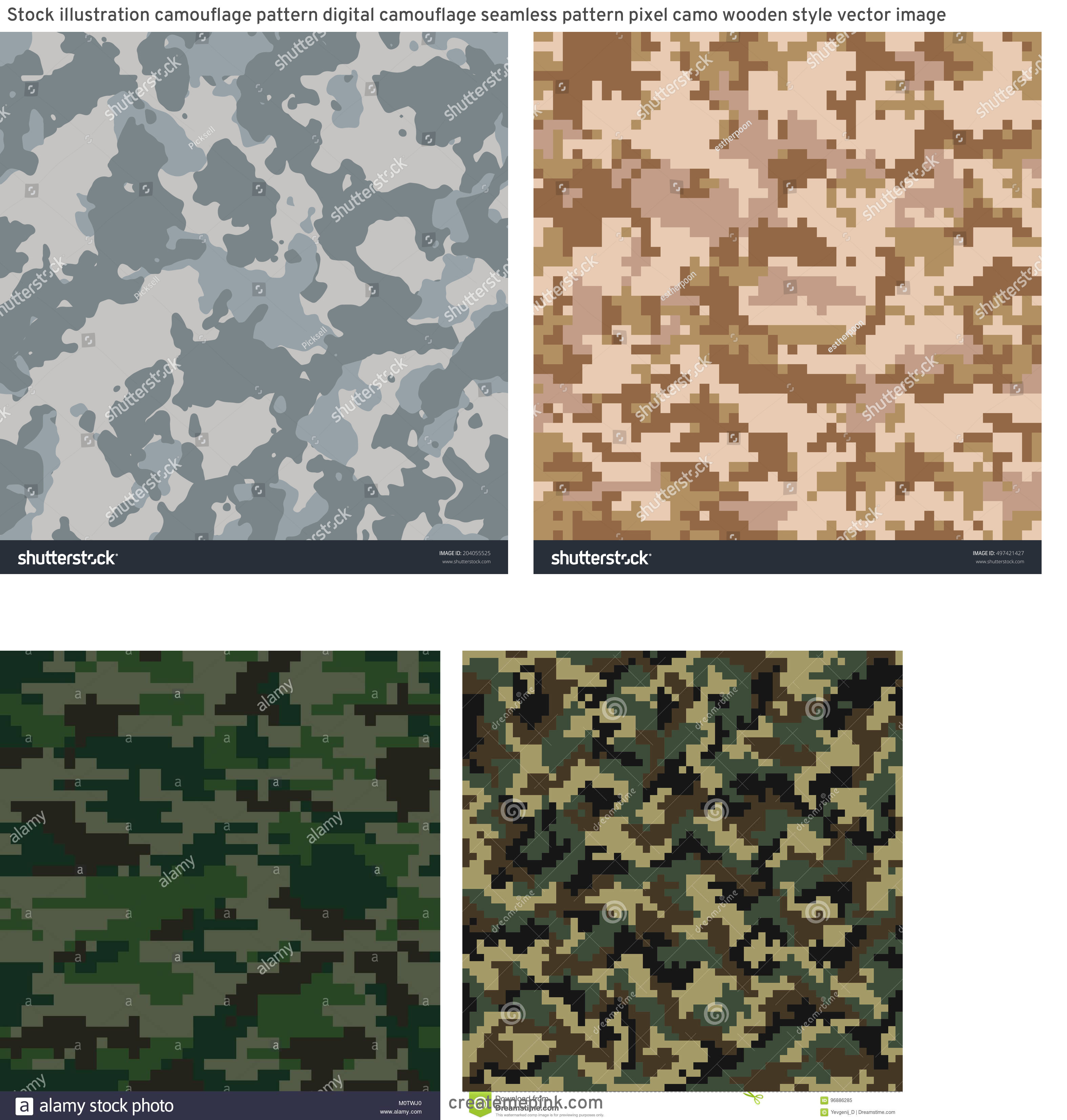 ACU Pattern Vector: Stock Illustration Camouflage Pattern Digital Camouflage Seamless Pattern Pixel Camo Wooden Style Vector Image