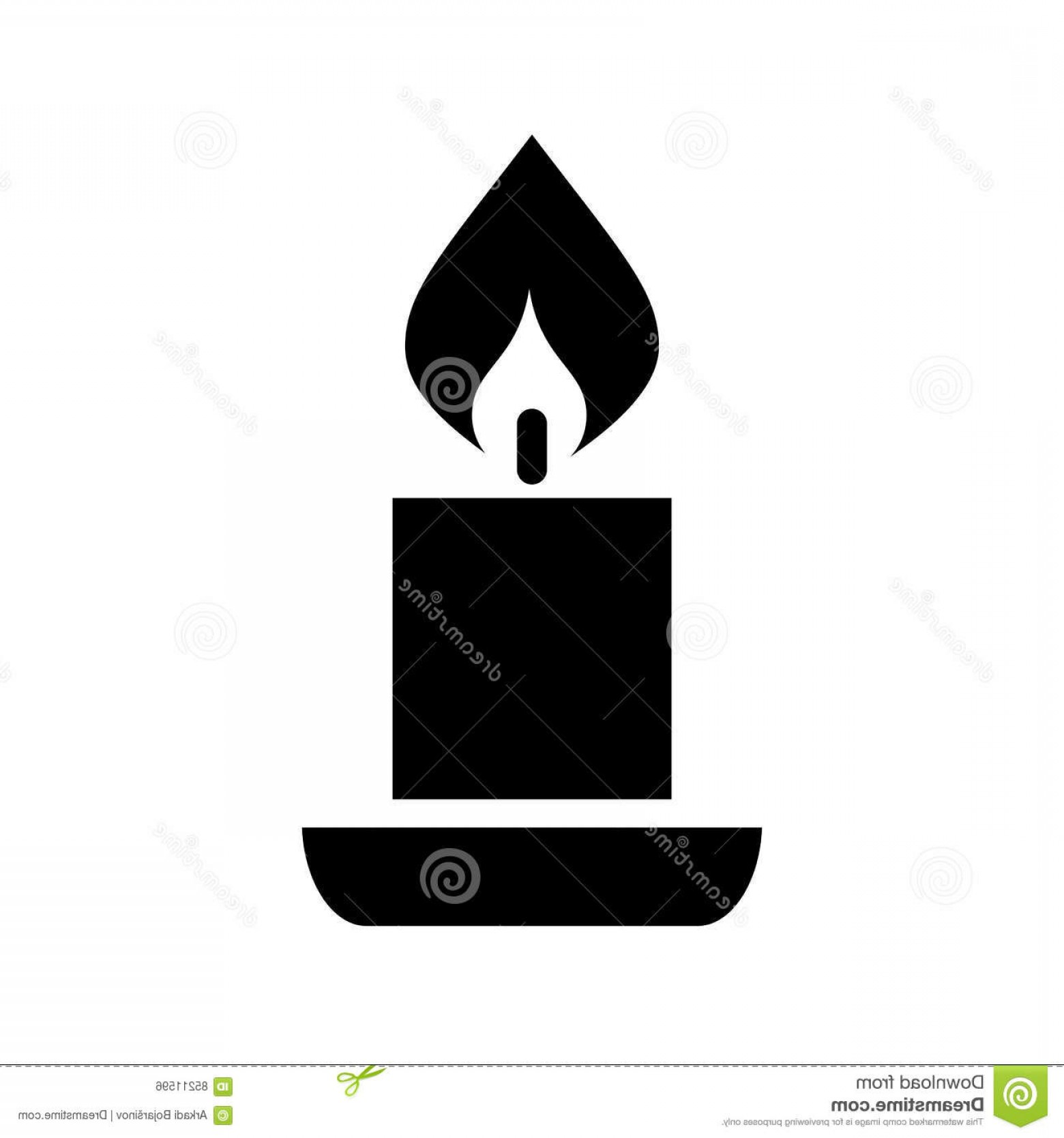 Candle Vector Black: Stock Illustration Candle Vector Silhouette Icon Isolated White Background Image