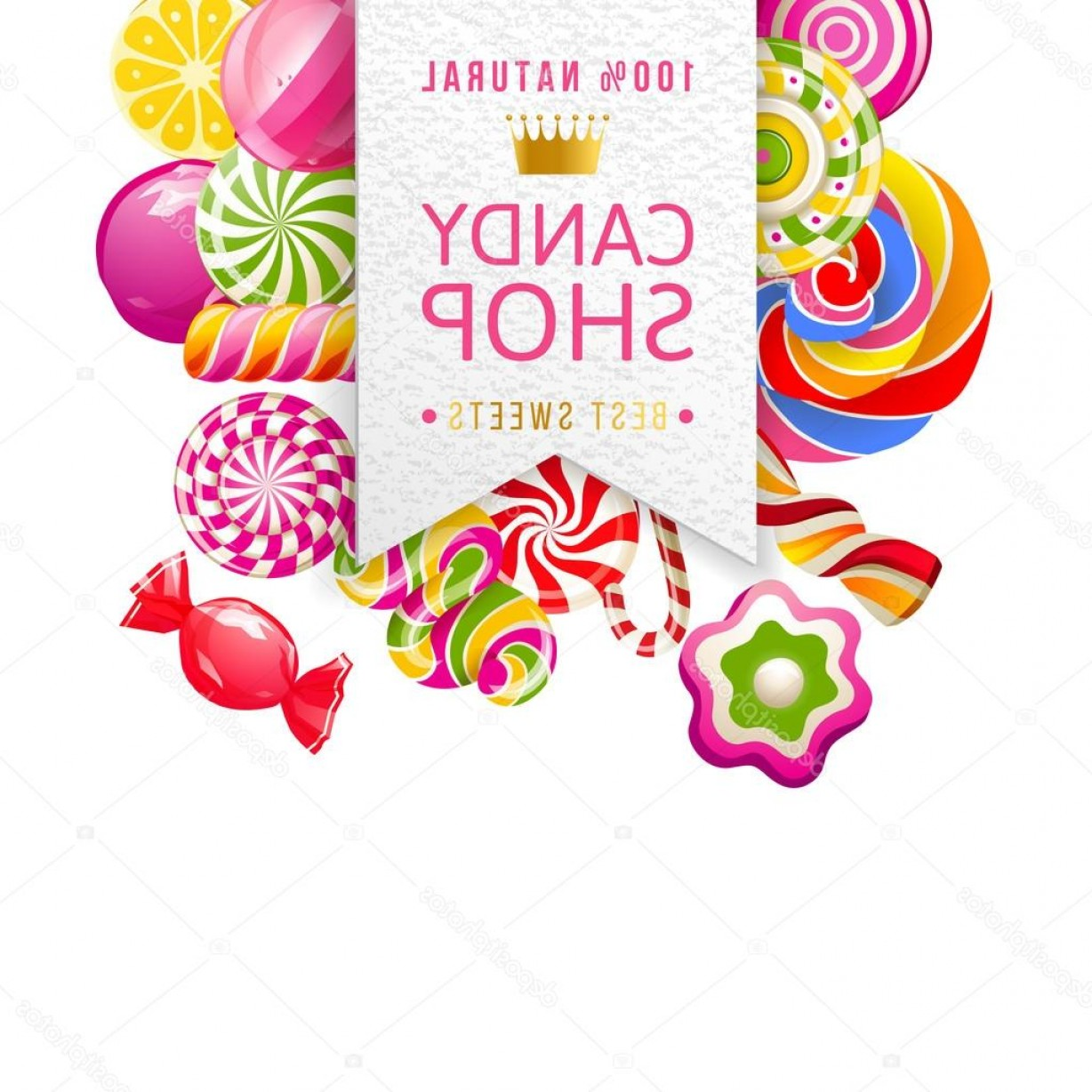 Candy Shop Vector: Stock Illustration Candy Shop Label With Type