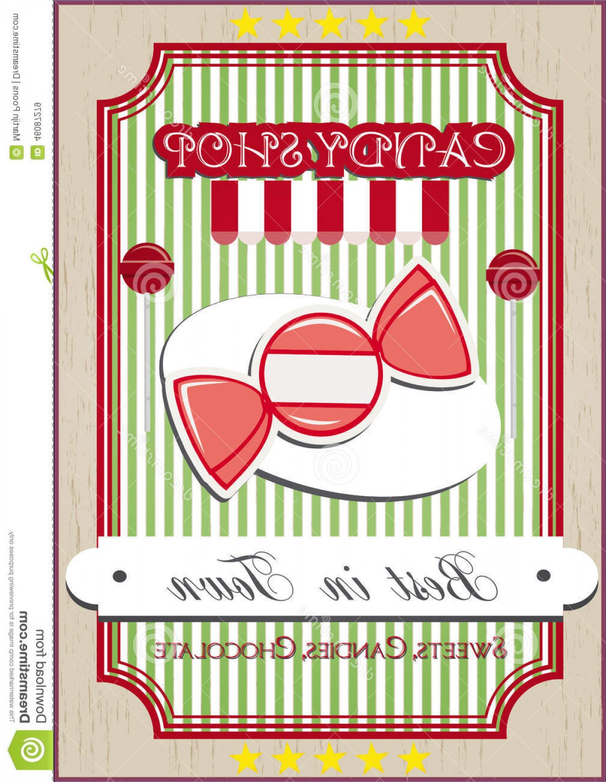 Candy Shop Vector: Stock Illustration Candy Shop Vintage Poster Retro Background Image