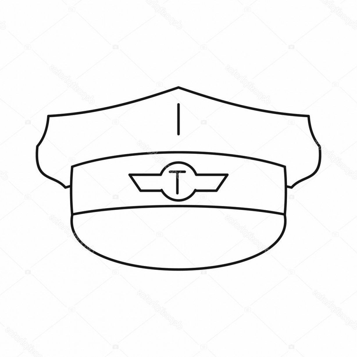 Chauffer Driver Cap Vector: Stock Illustration Cap Taxi Driver Icon Outline