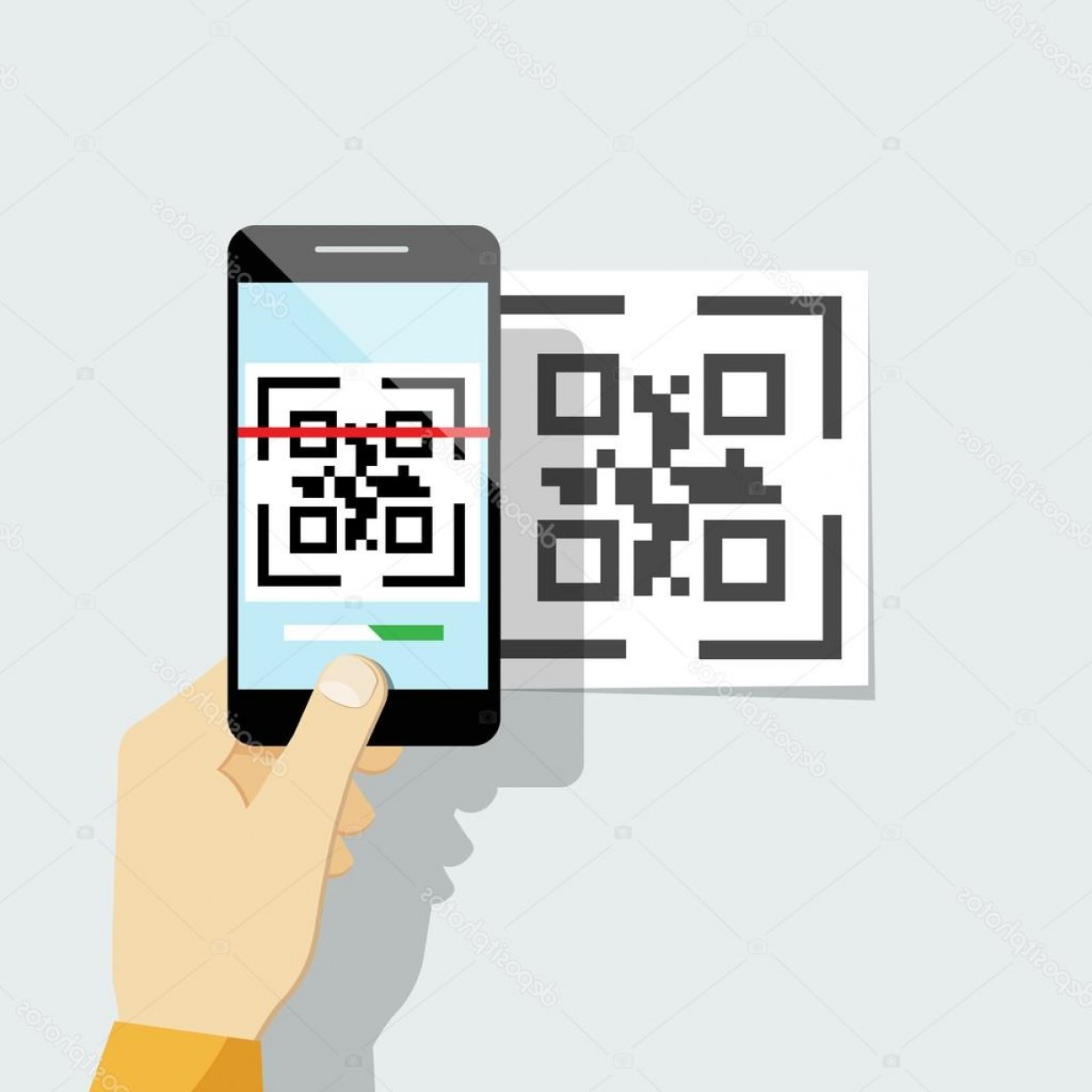 QR Mobile Phone Vector: Stock Illustration Capture Qr Code On Mobile