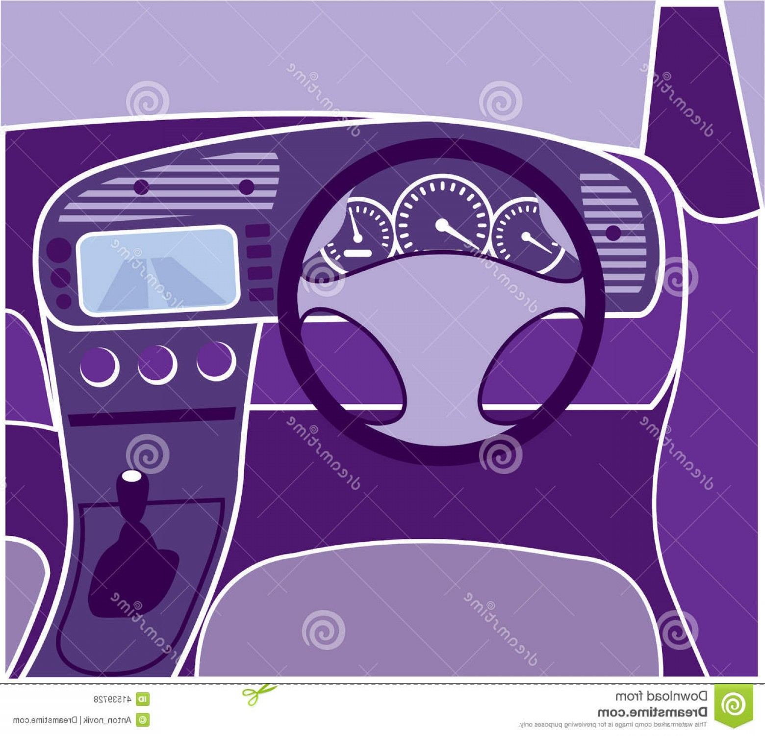 Struts For Cars Vector: Stock Illustration Car Interior Vector Illustration Clip Art Simplistic Image