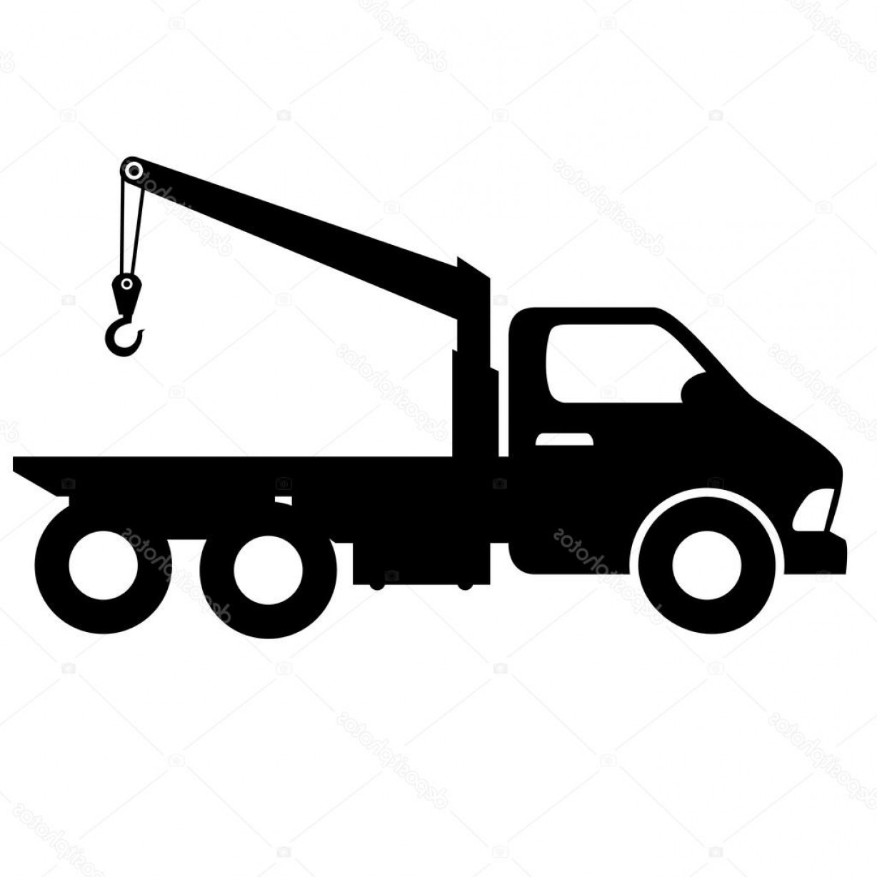 Towing Vector Clip Art: Stock Illustration Car Towing Truck Silhouette