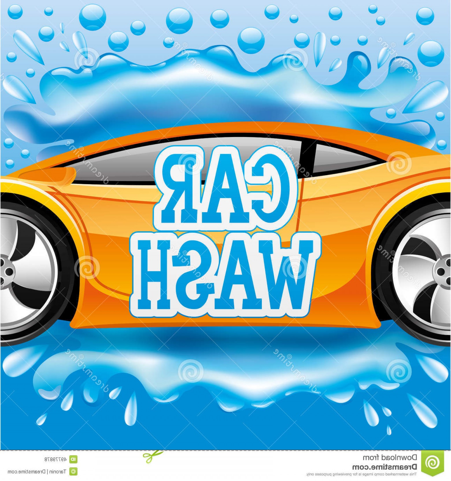 Car Wash Vector Graphics: Stock Illustration Car Wash Vector Sign Orange Blue Background Image