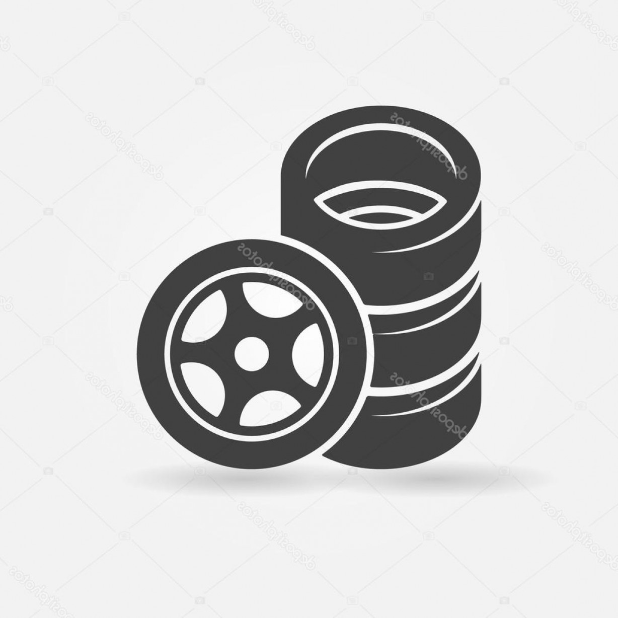 Tire Icon Vector: Stock Illustration Car Wheel And Tires Icon