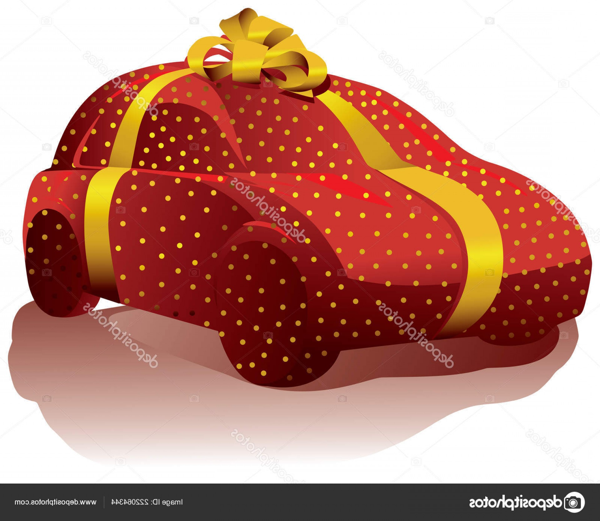 Vector Car Wrapped: Stock Illustration Car Wrapped Red Gift Wrap