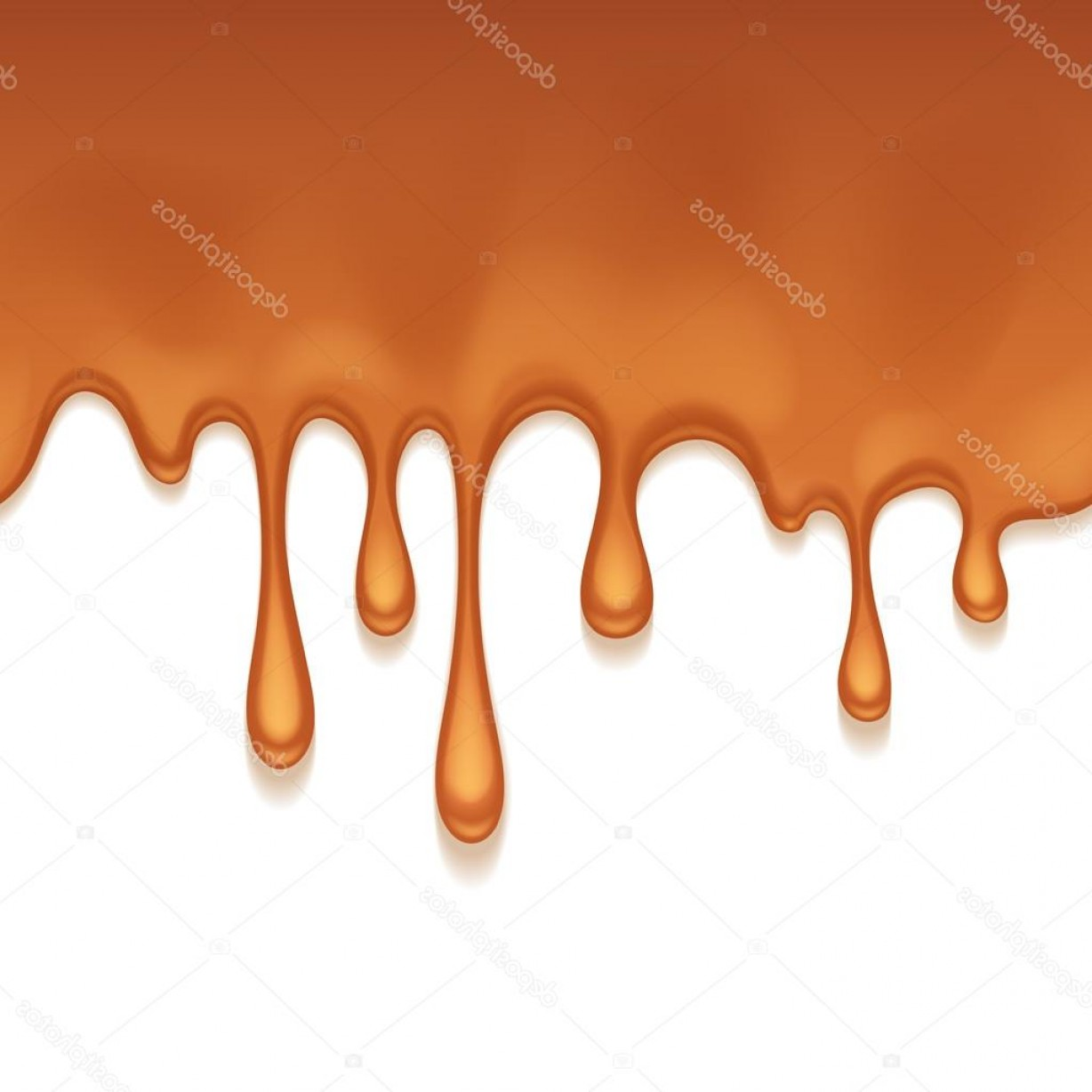 Caramel Drip Vector: Stock Illustration Caramel Drips Seamless Horizontal Border