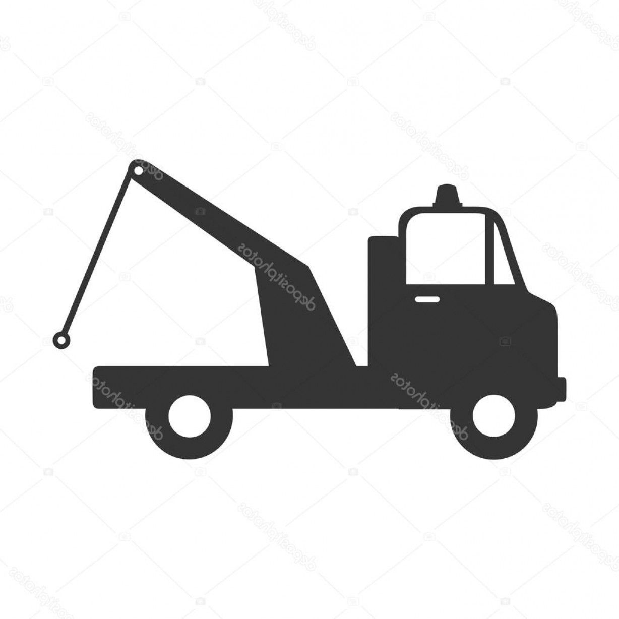 Towing Truck Hook Vector: Stock Illustration Cargo Truck Crane Icon Vector
