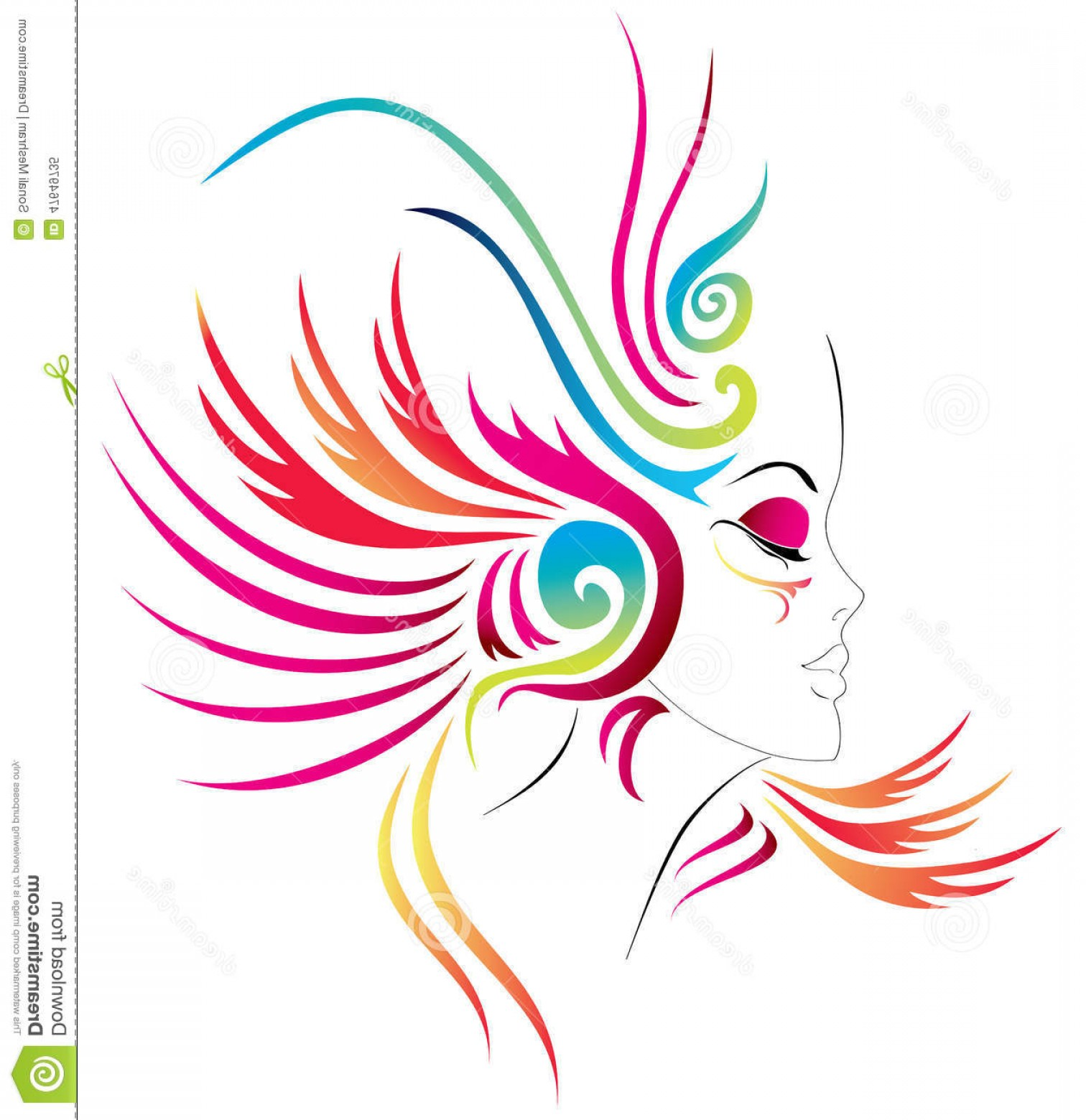 Carnival Vector Feather Art: Stock Illustration Carnival Girl Abstract Face Colorful Feathers Vector Available Image