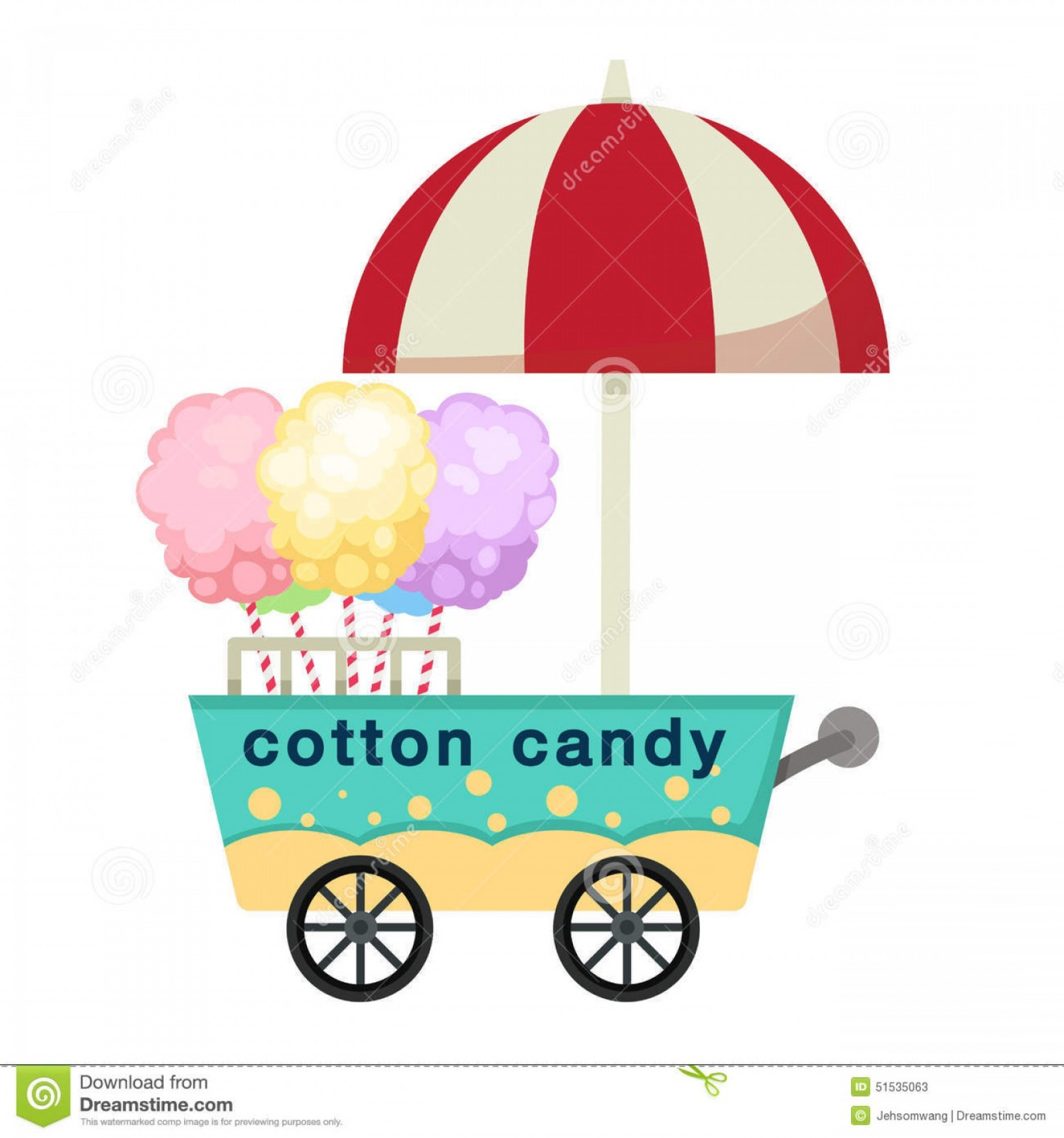 Cotton Vector Graphic: Stock Illustration Cart Stall Cotton Candy Vector Illustration White Background Image