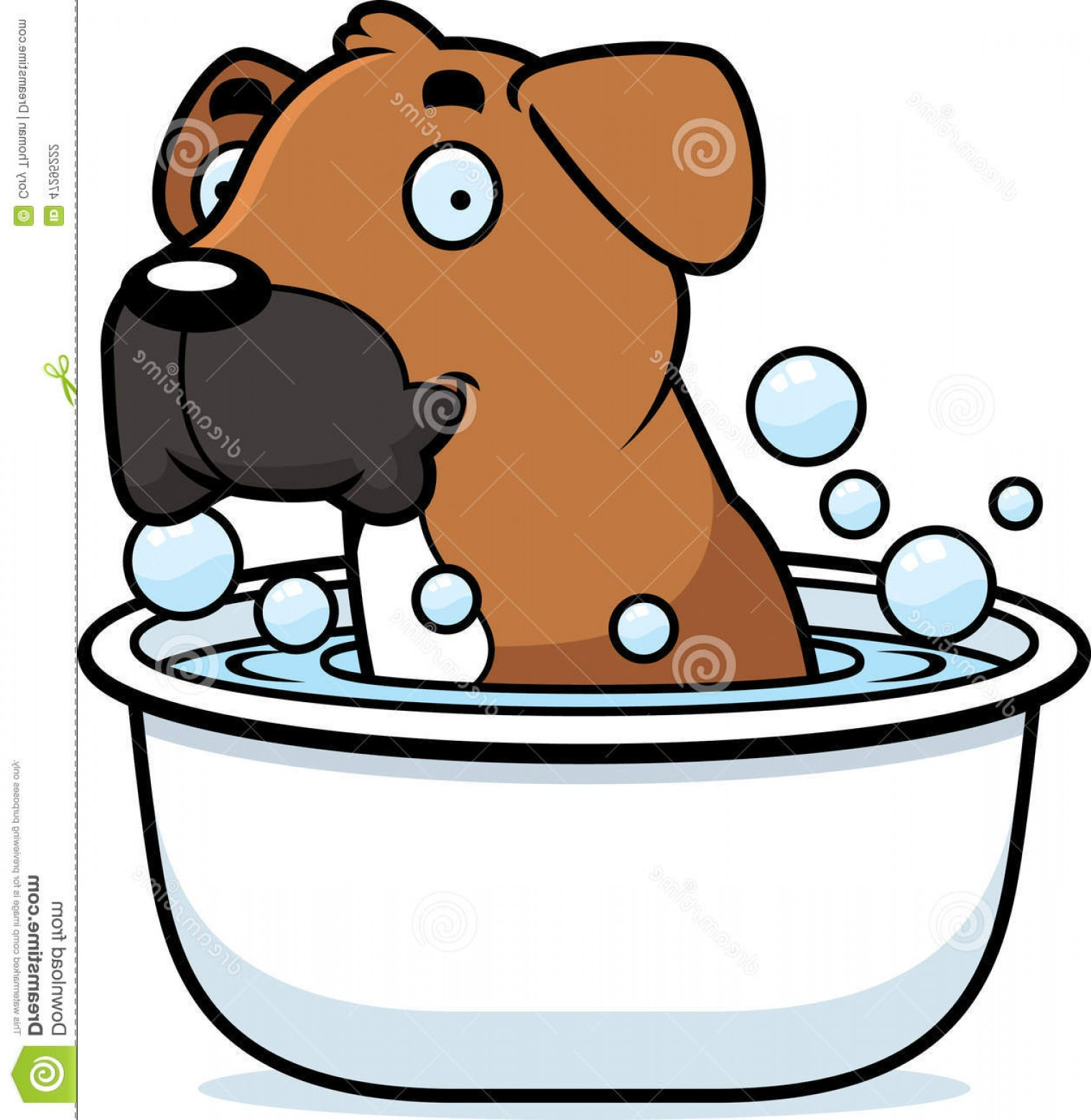 Bpxer Vector Art Happy Dog: Stock Illustration Cartoon Boxer Bath Illustration Dog Taking Image