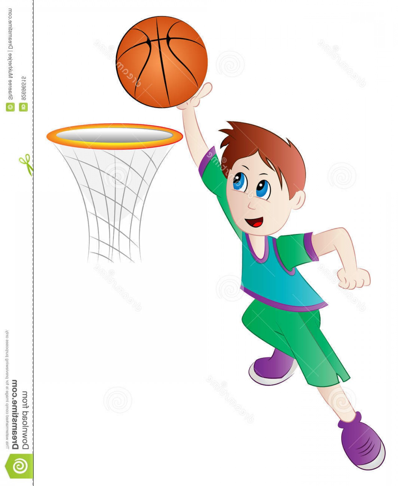 Cartoon Basketball Vector: Stock Illustration Cartoon Boy Playing Basketball Vector Illustration Clip Art Player Image