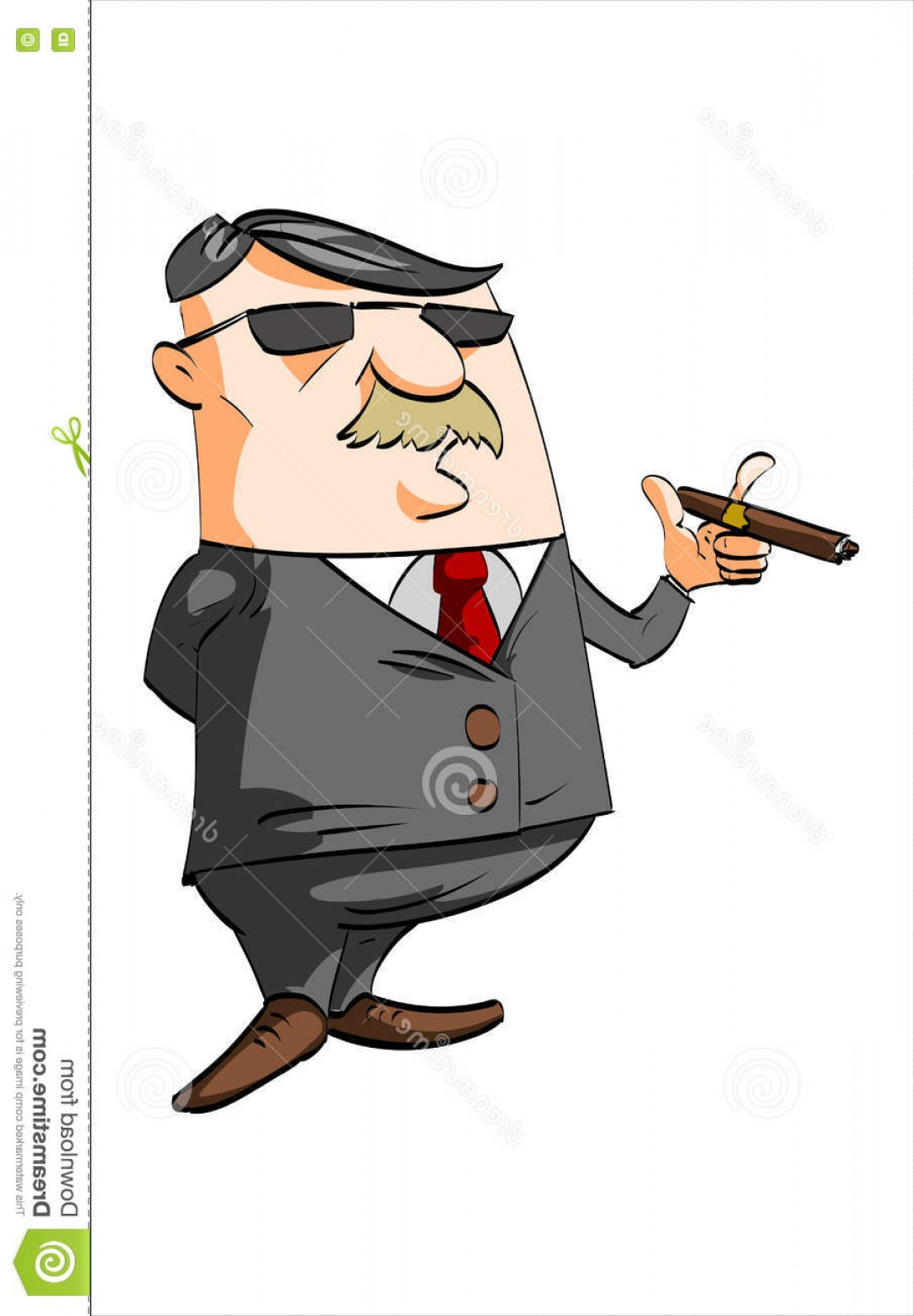 Cigar Cartoon Vector: Stock Illustration Cartoon Businessman Smoking Cigar Vector Illustration Mustache Wearing Black Suit Red Tie Sunglasses Image