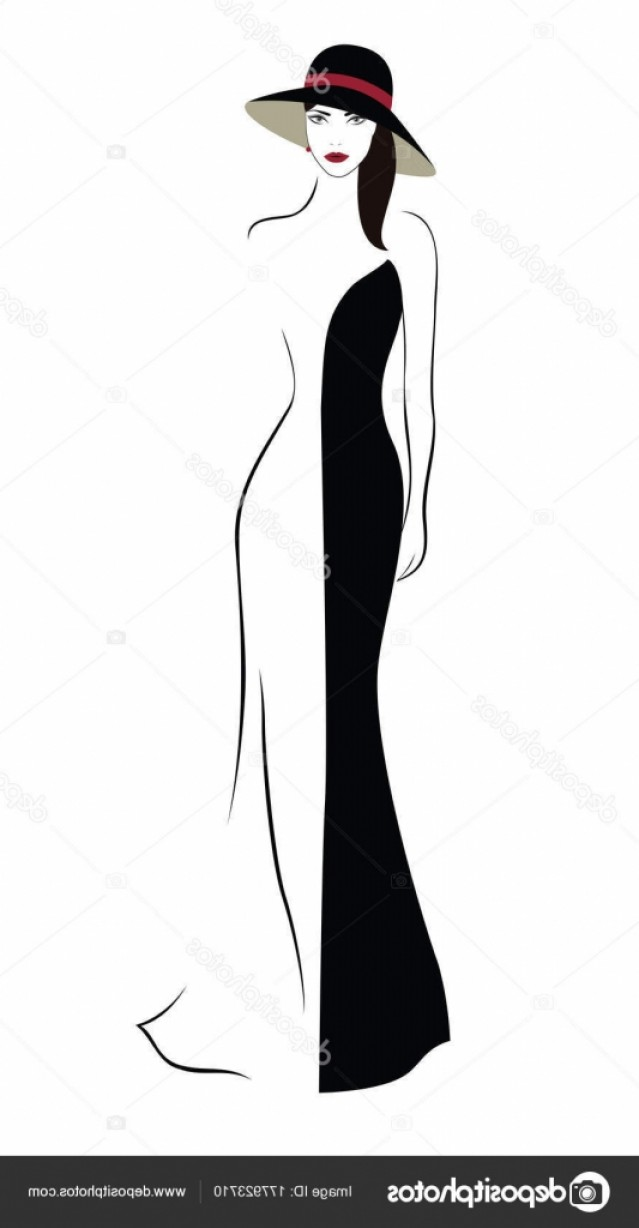 Vector Images Of Black And White Dresses: Stock Illustration Cartoon Character Beautiful Woman Hat