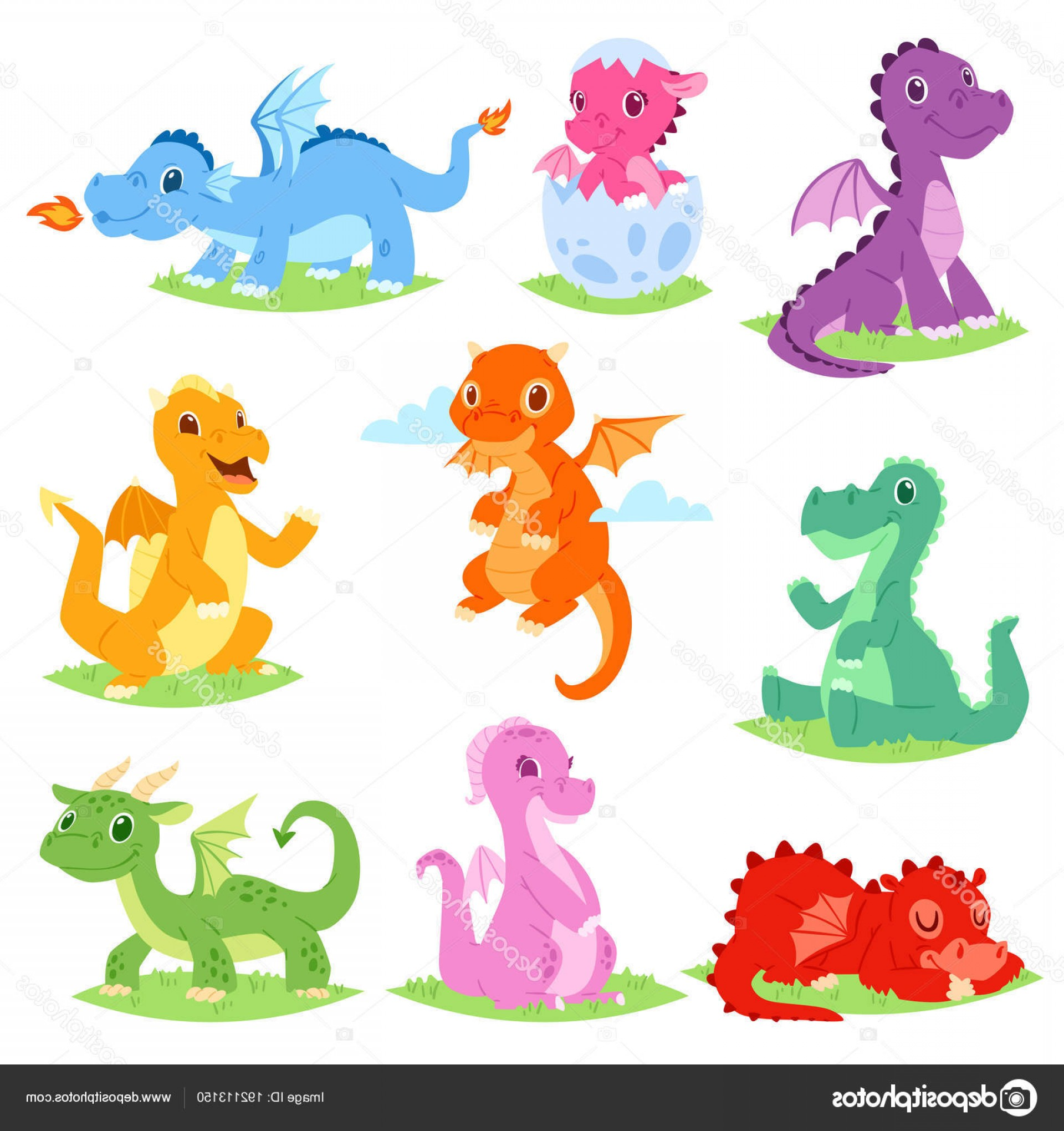Baby Dragon Silhouette Vector: Stock Illustration Cartoon Dragon Vector Cute Dragonfly