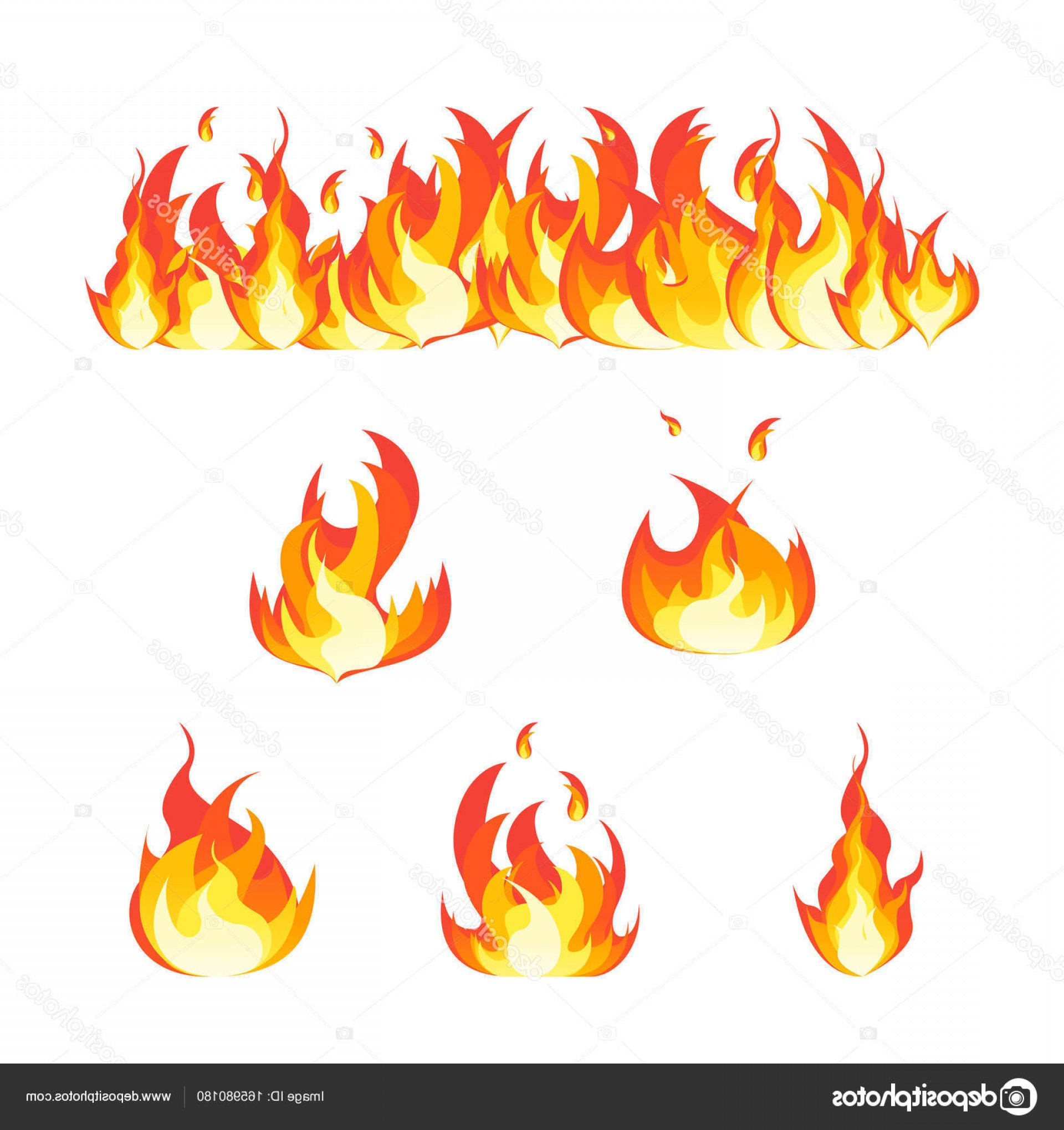 Fire Clip Art Vector: Stock Illustration Cartoon Fire Flames Set And