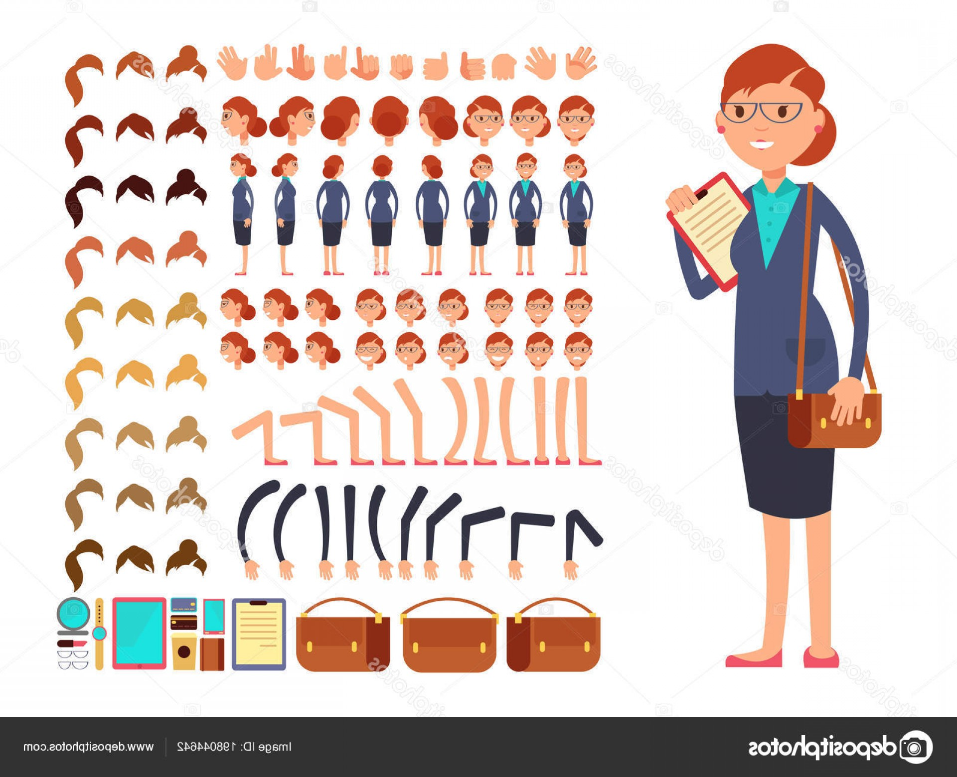 Vector Constructor: Stock Illustration Cartoon Flat Businesswoman Vector Character