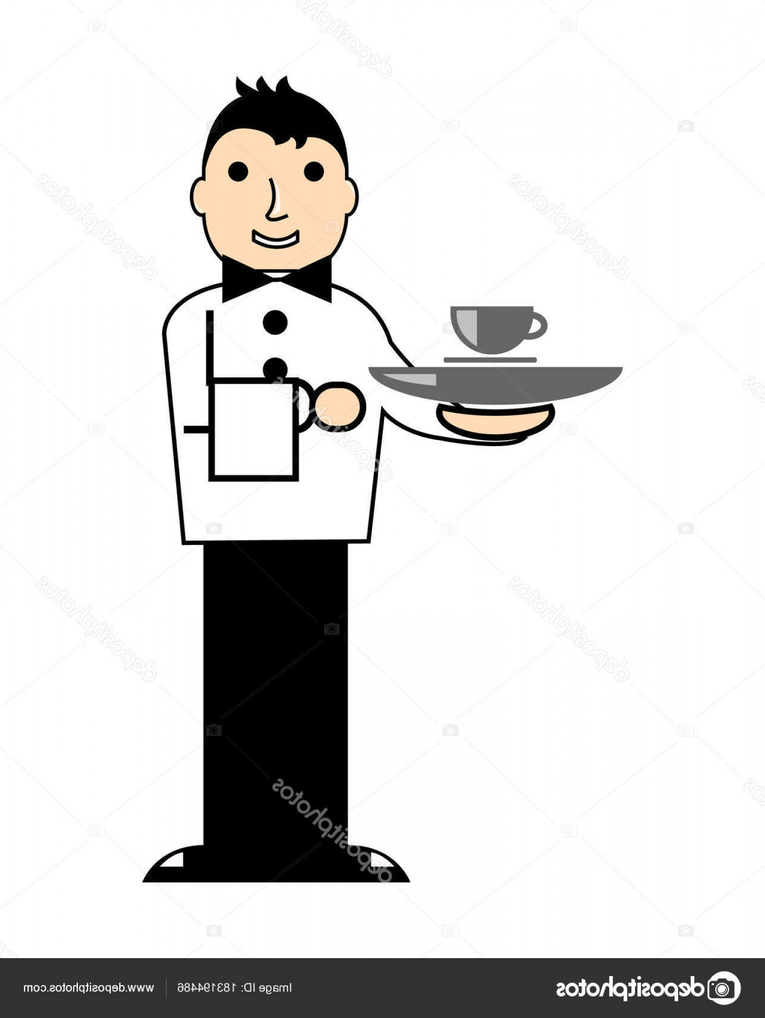 Vector Waiter Coffee: Stock Illustration Cartoon Illustration Young Waiter Barista