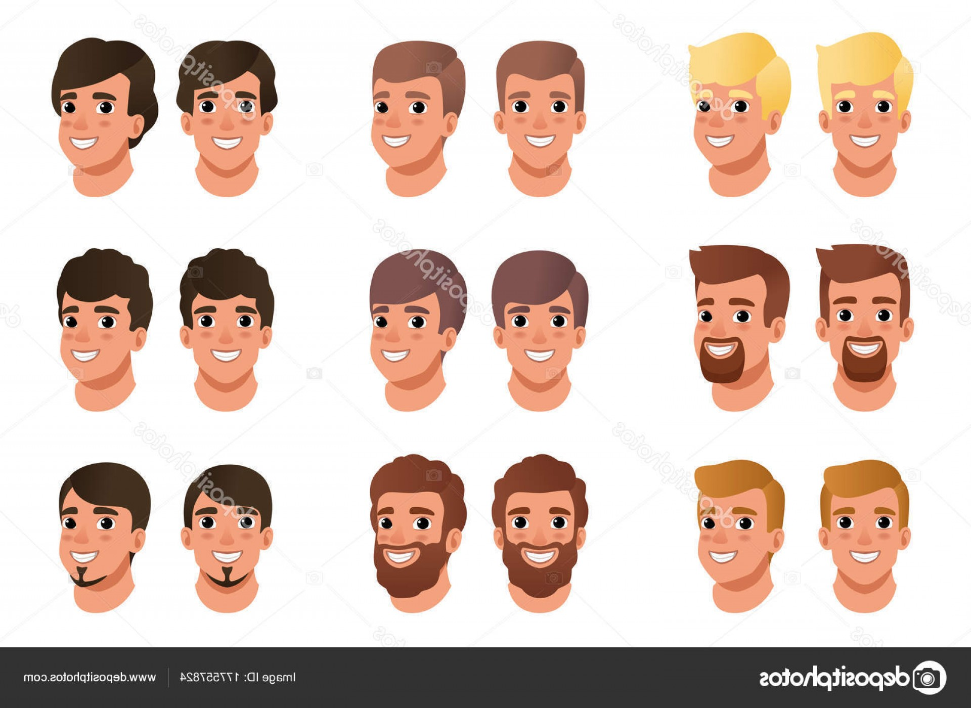 Short Men's Hair Vector: Stock Illustration Cartoon Set Of Men Avatars