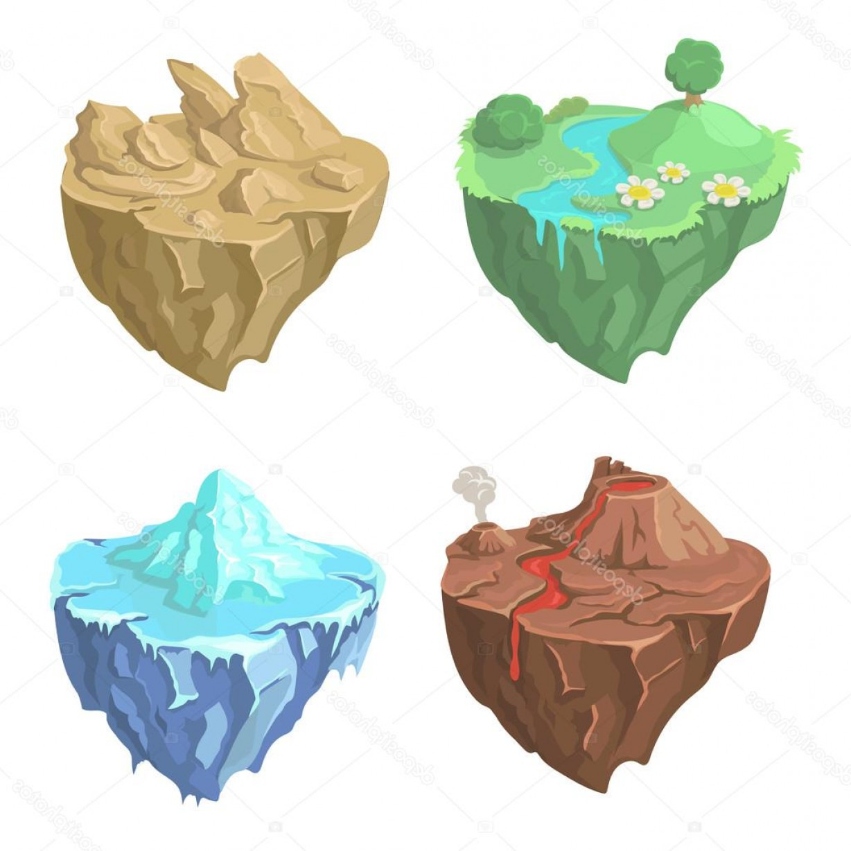 Vector Stone Landscaping: Stock Illustration Cartoon Stone Flying Island For
