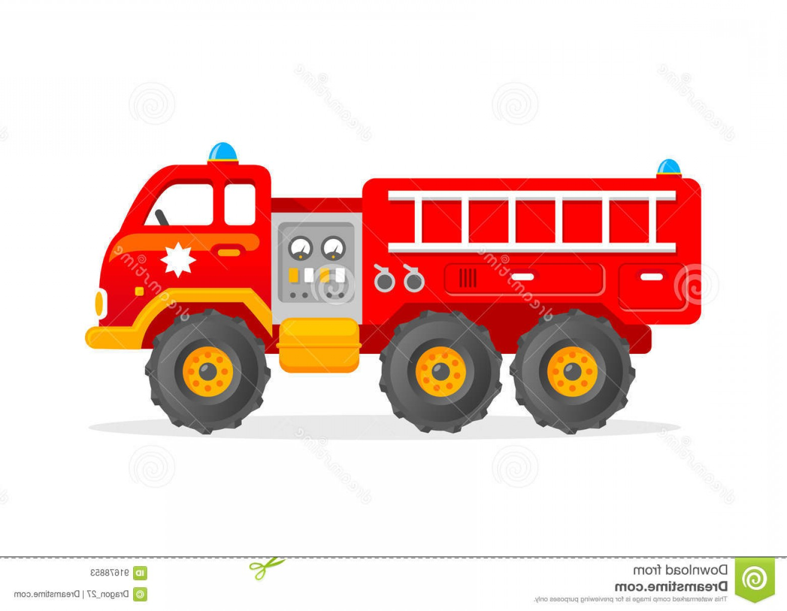 Fire Truck Vector Art: Stock Illustration Cartoon Toy Firetruck Vector Illustration Red Firefighter Car Funny Clipart Kids Image