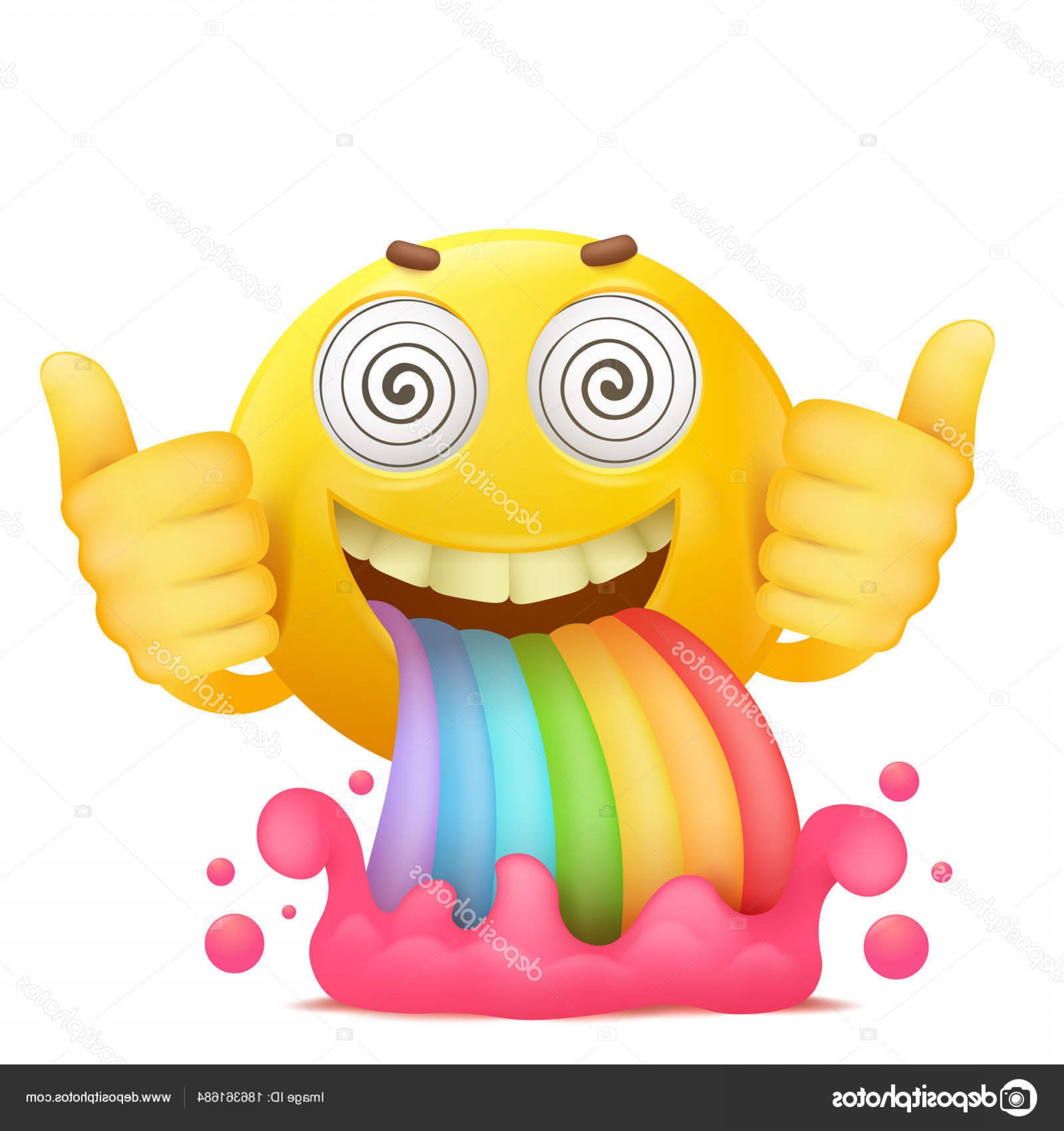 Rainbow Face Emoji Vector: Stock Illustration Cartoon Yellow Smiley Face Emoji
