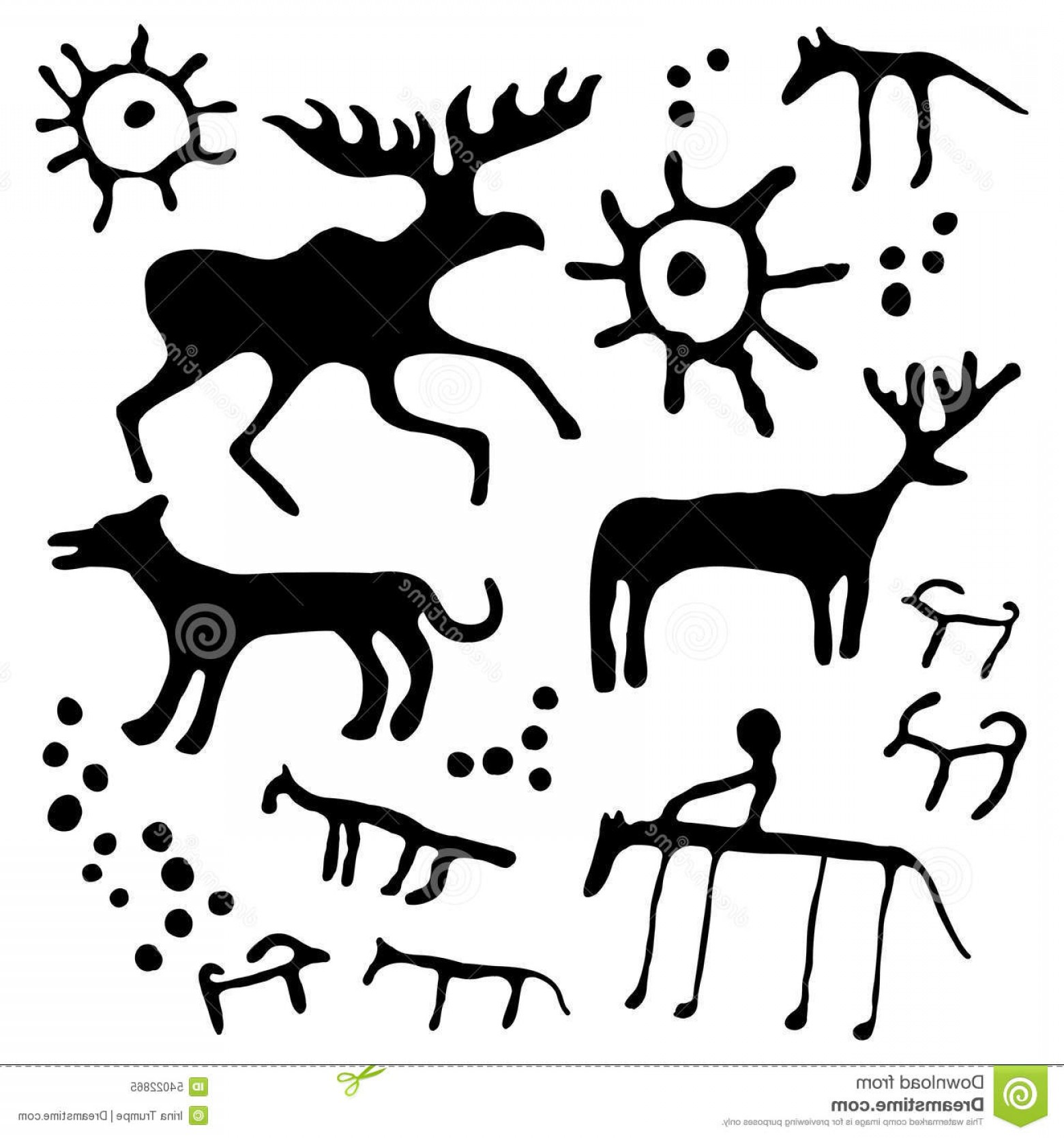 Cave Vector: Stock Illustration Cave Art Vector Set Rock Painting Animals Silhouettes Image