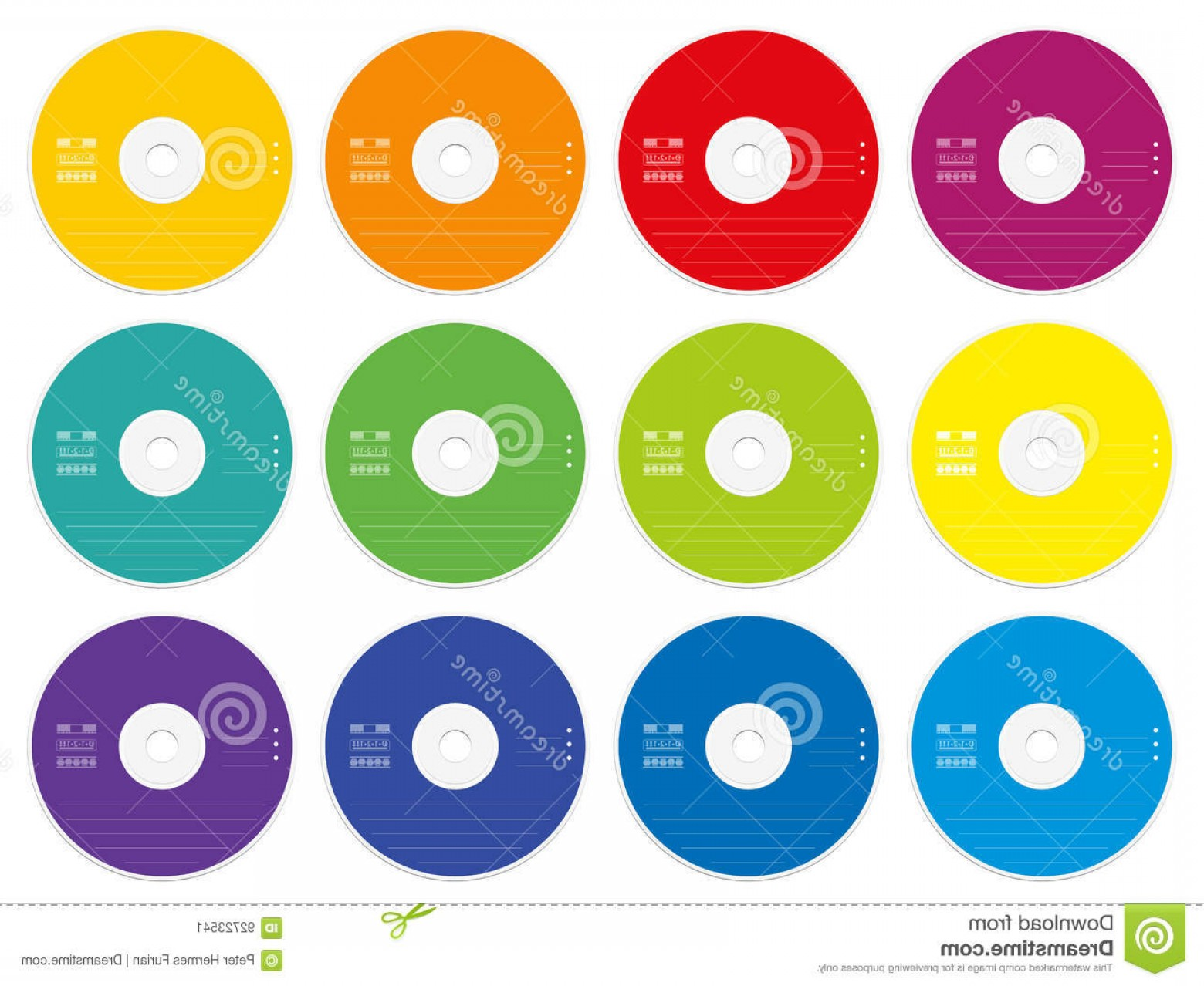 CD Label Template Vector: Stock Illustration Cd Labels Colored Template Blank Set Twelve Cds Dvds External Media Data Collection Storage Music Films Photos Image