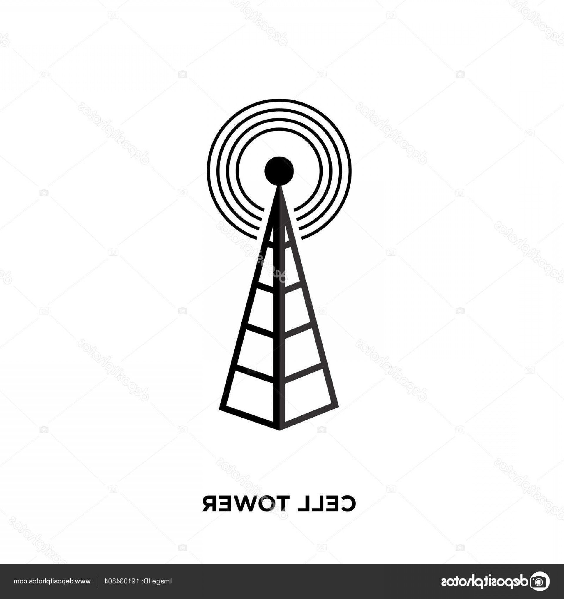 Vector Phone Tower: Stock Illustration Cell Tower Icon Isolated On