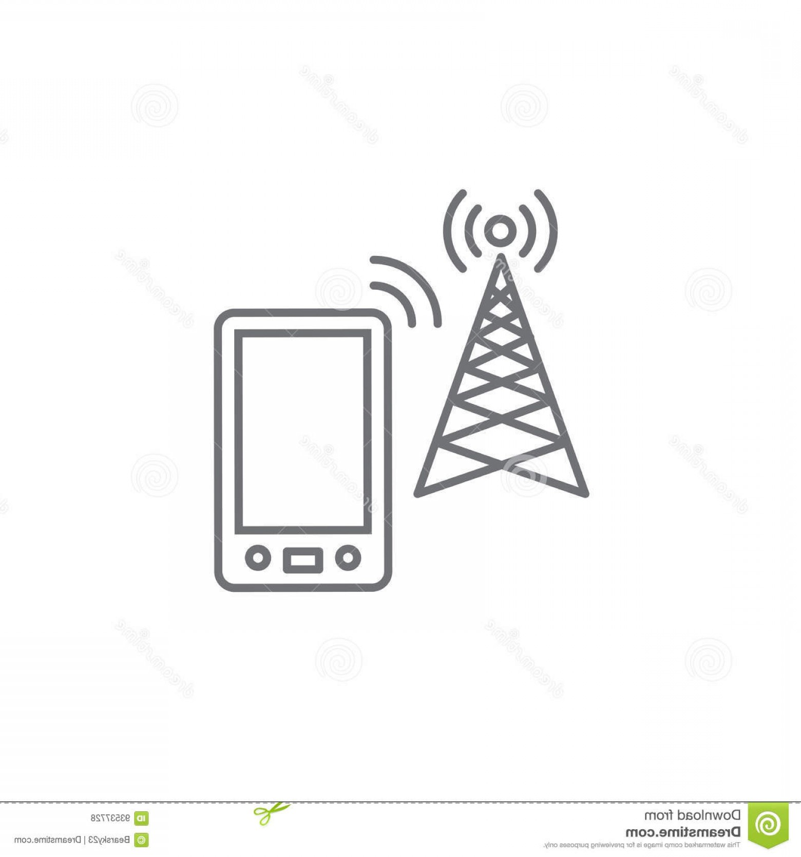 Vector Phone Tower: Stock Illustration Cellphone Tower Icon Emitting Pinging Transmission Waves W Image