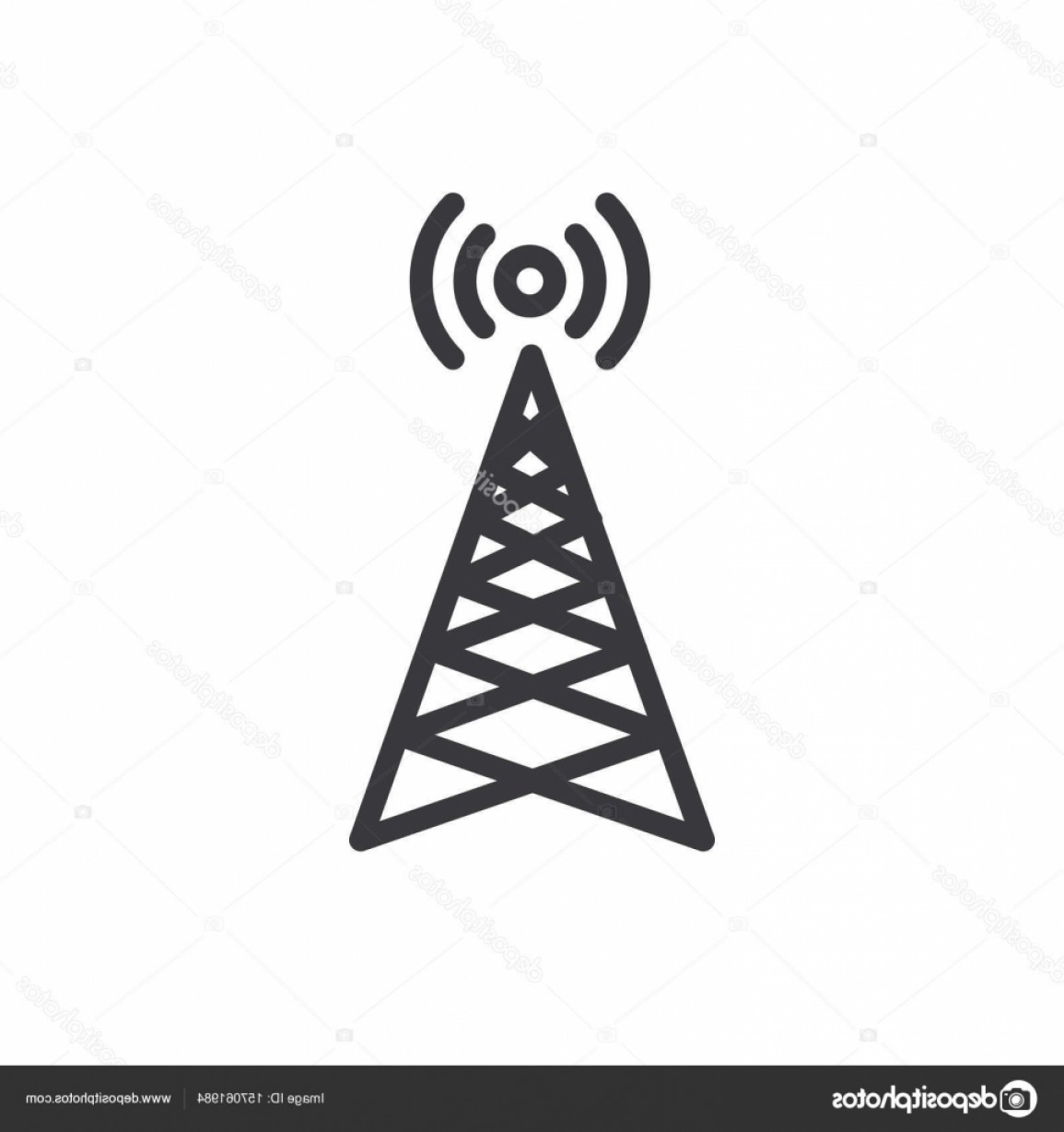 Vector Phone Tower: Stock Illustration Cellphone Tower Icon With Emitting