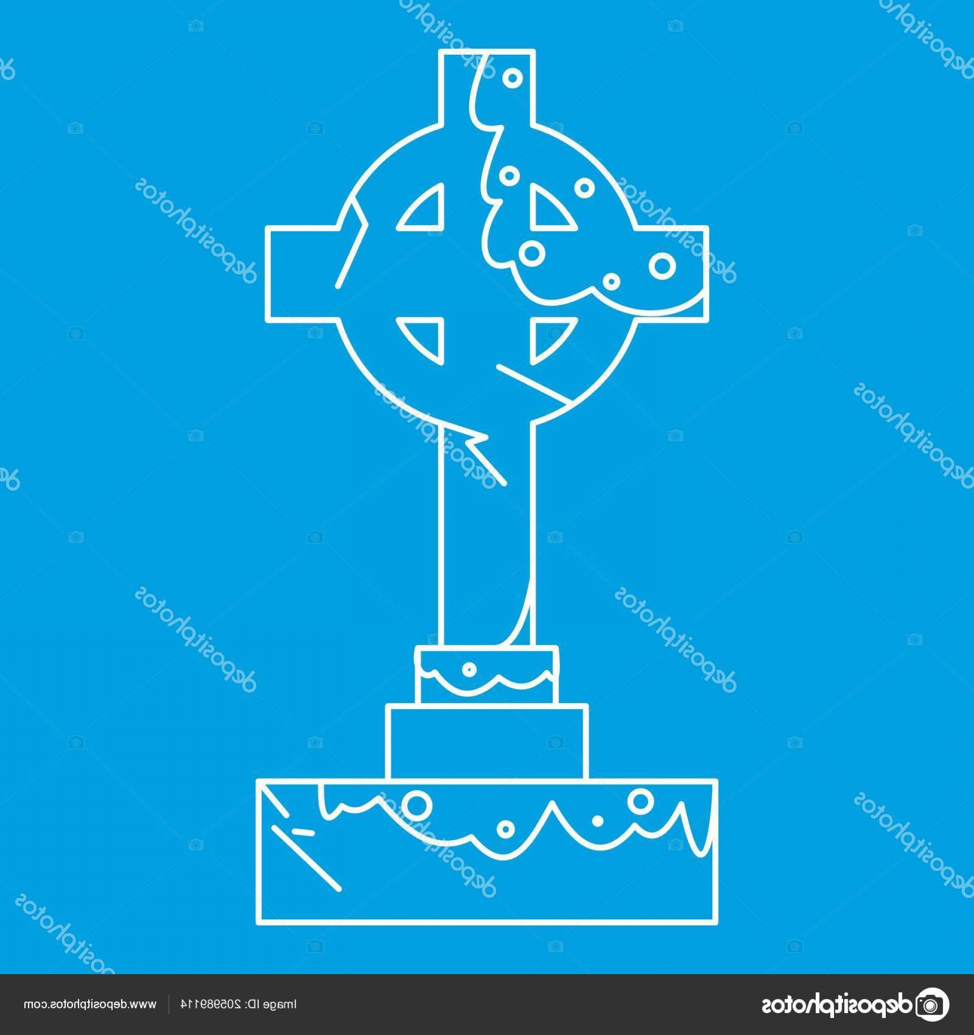 Gravestone Outline Vector: Stock Illustration Celtic Cross Gravestone Icon Outline