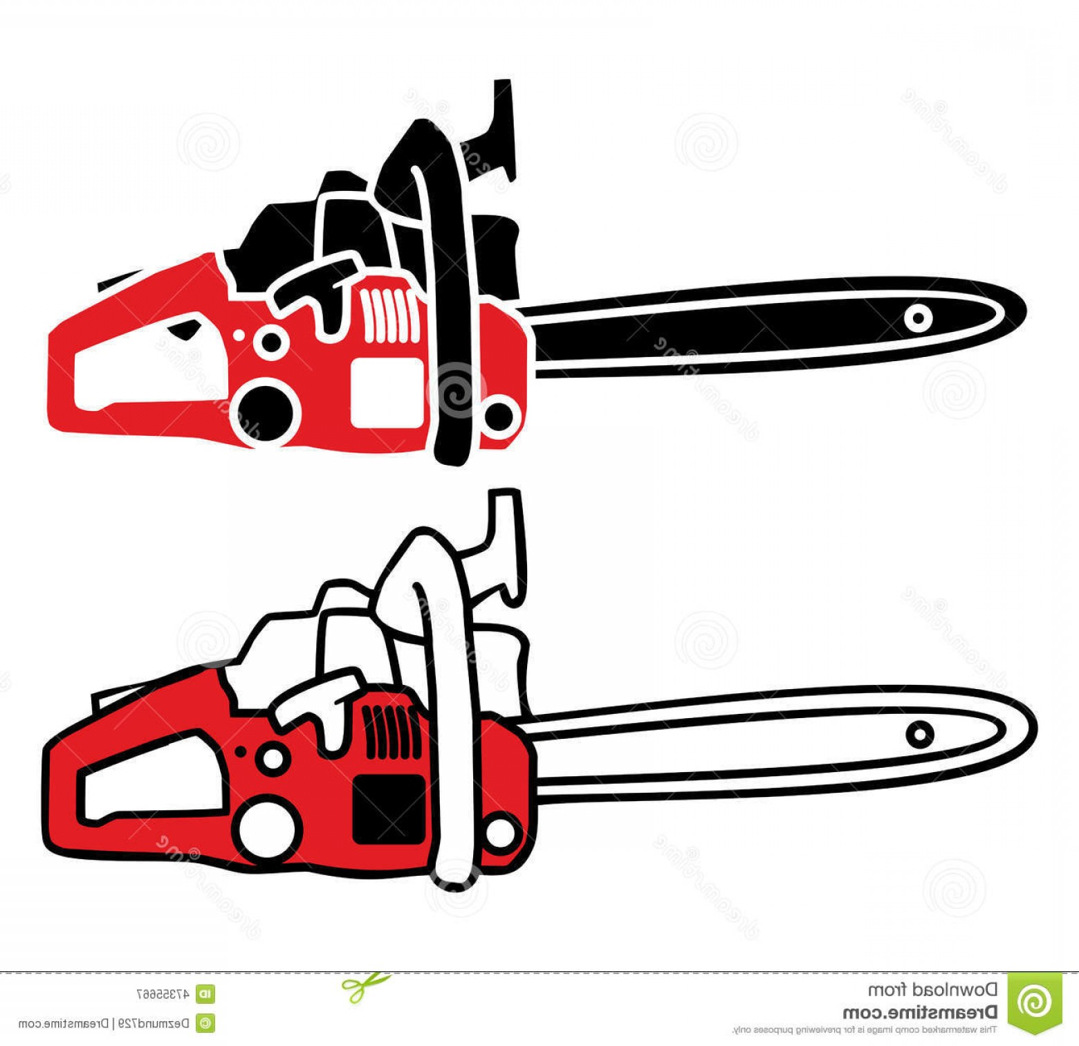 Wood Cutting Vector: Stock Illustration Chainsaw Vector Two Red Cutting Trees Image