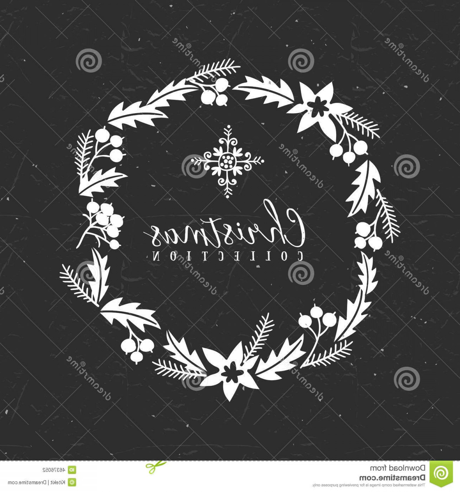 Vector Snowflake Wreath: Stock Illustration Chalk Decorative Christmas Greeting Wreath Snowflake Collection Hand Drawn Illustration Design Elements Image