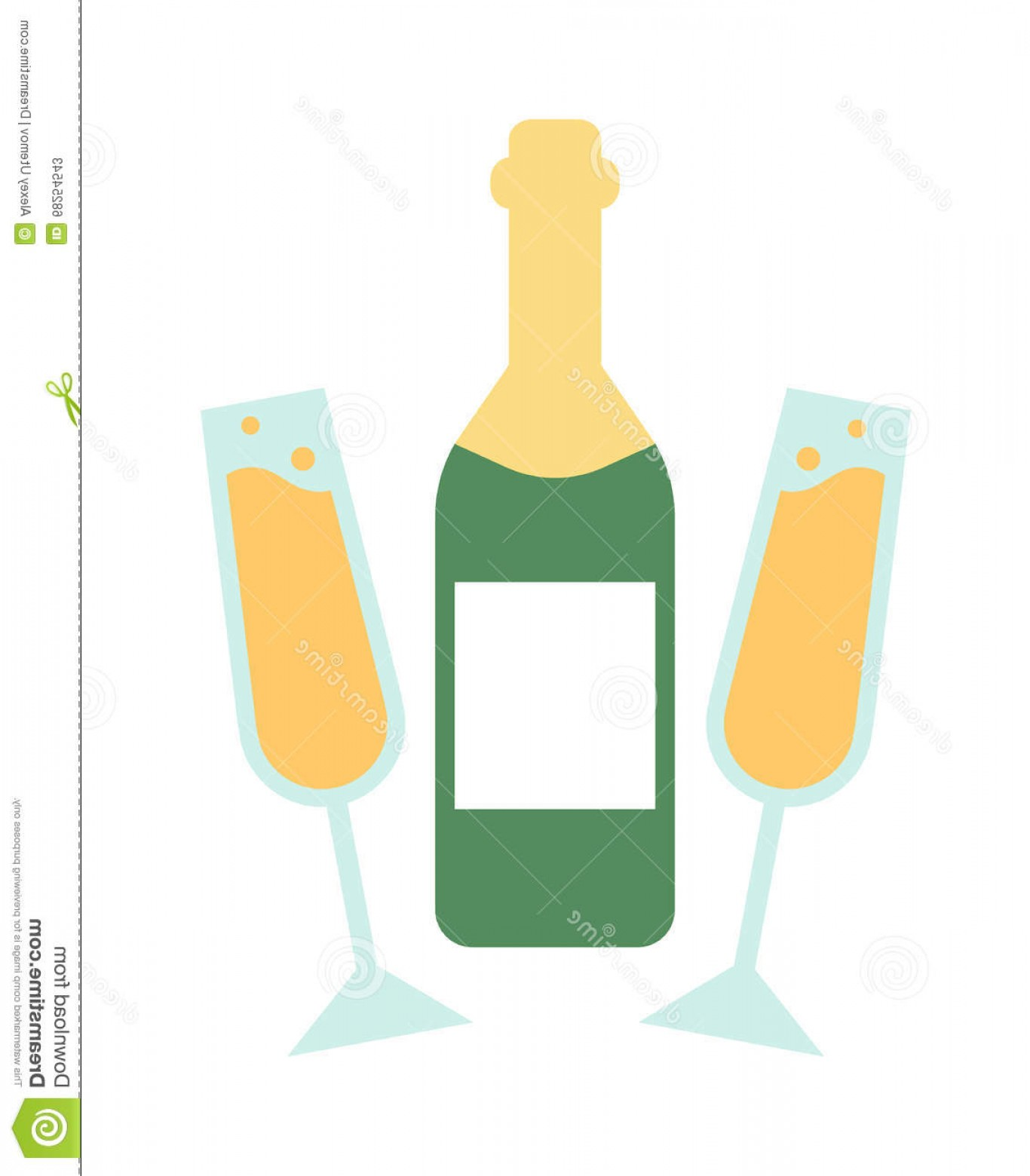 Vector Champagne Party: Stock Illustration Champagne Bottle Glasses Flat Vector Illustration Glass Wedding Glass Party Drink Image