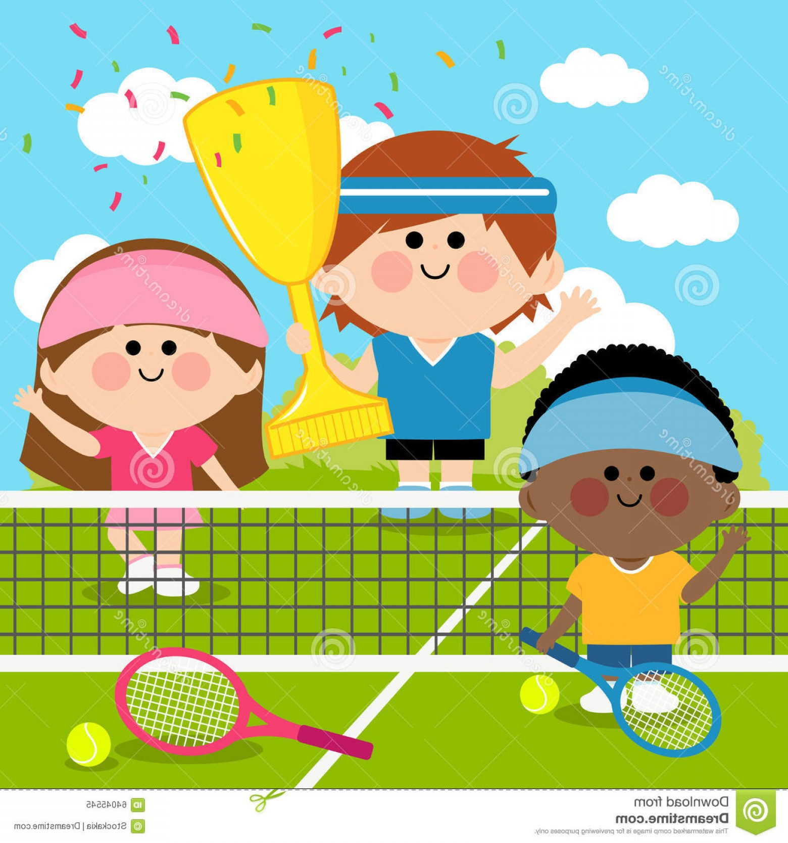 Champion Vector Art: Stock Illustration Champion Kids Tennis Players Tennis Court Holding Trophy Vector Illustration Children Winners Rackets Balls Image