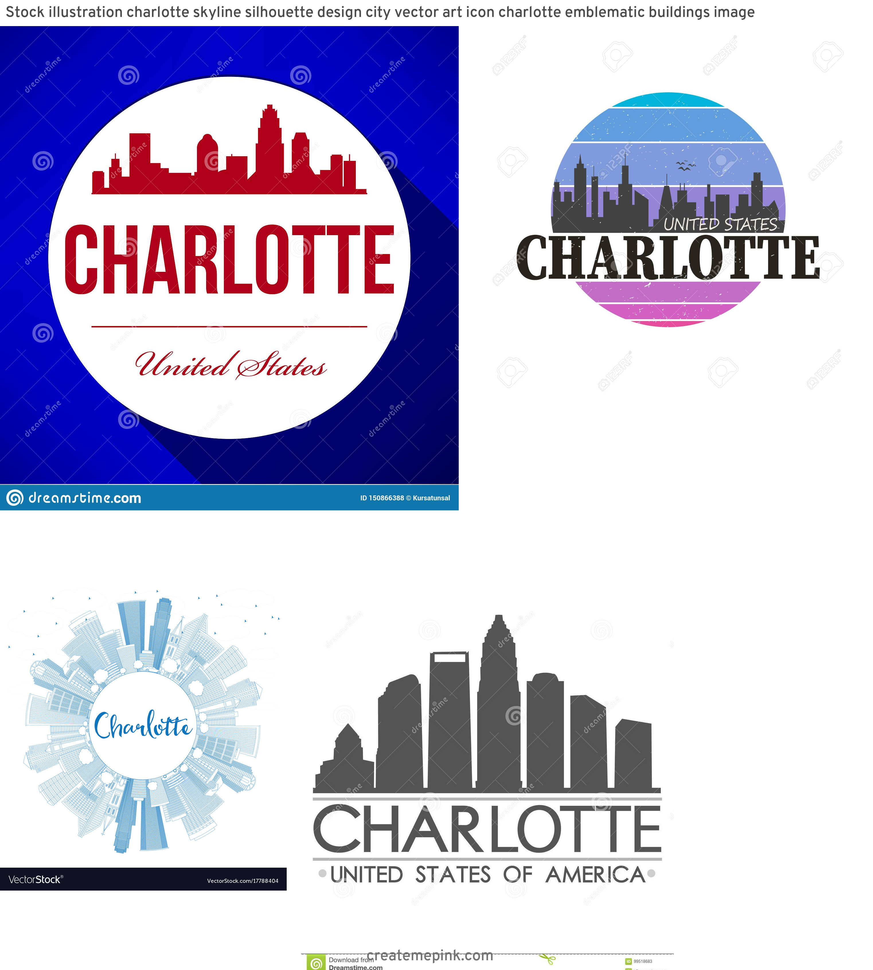 Charlotte Skyline Vector Circle: Stock Illustration Charlotte Skyline Silhouette Design City Vector Art Icon Charlotte Emblematic Buildings Image