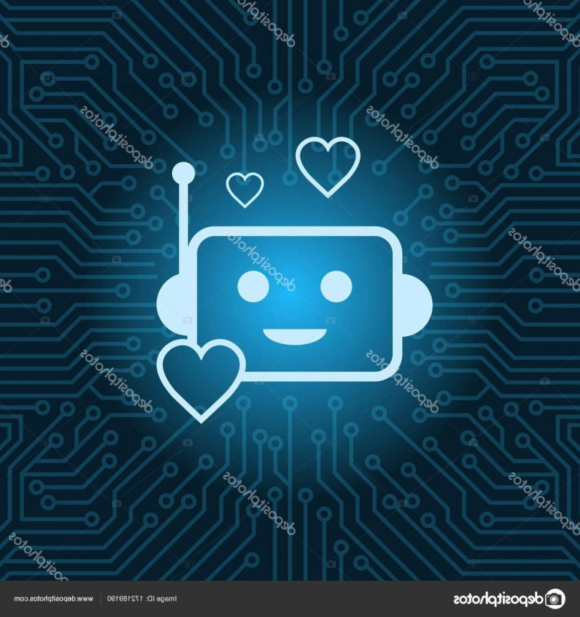 Motherboard Vector With A Heart: Stock Illustration Chat Bot Face Icon Heart