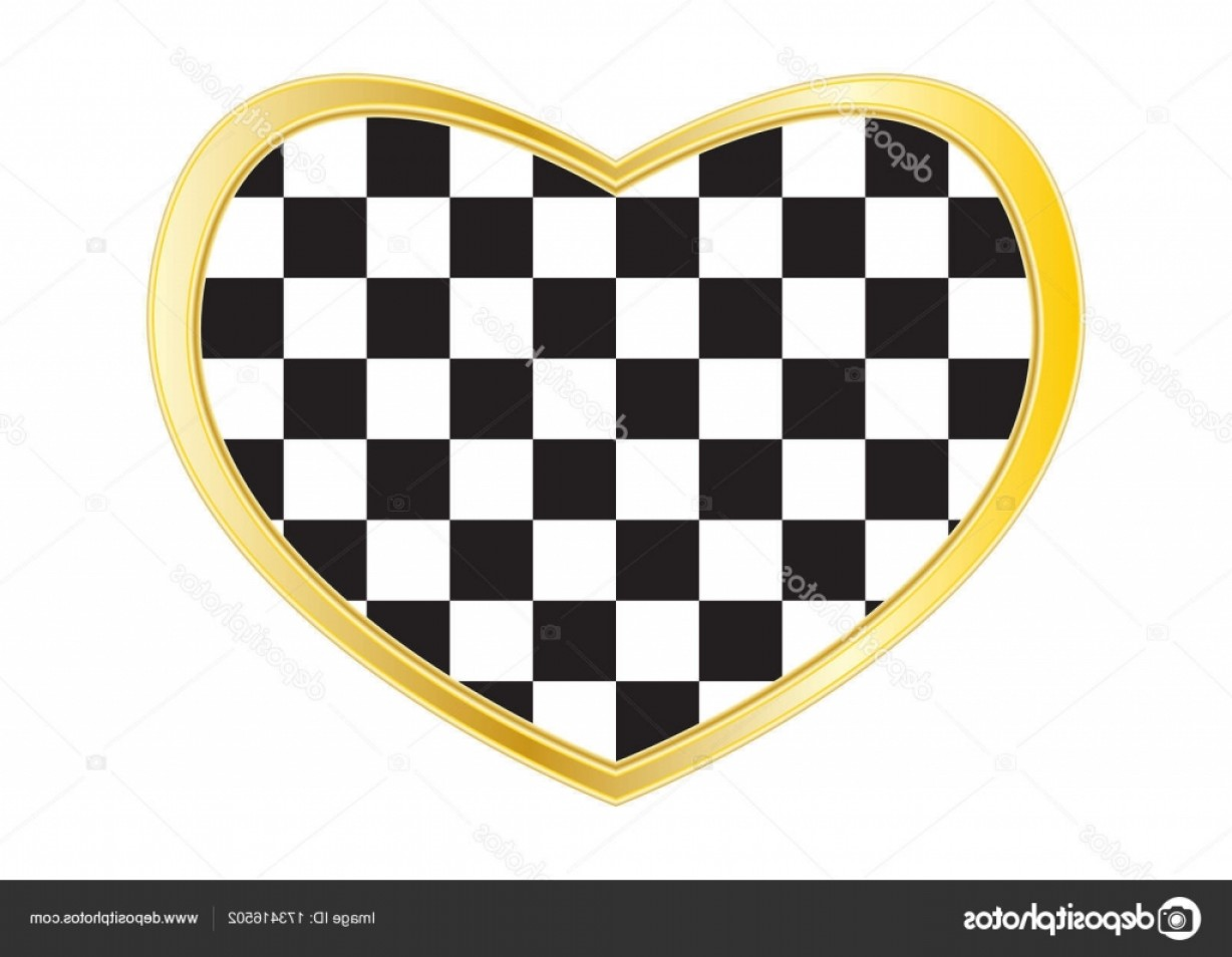 Vector Checkered Flag Heart: Stock Illustration Checkered Racing Flag In Heart