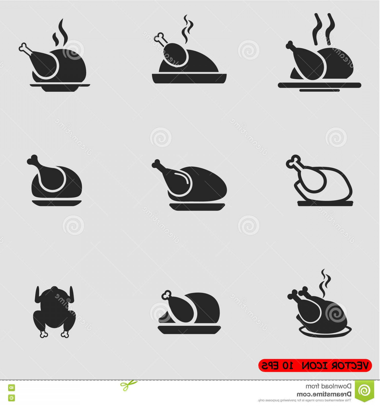 Chicken Vector Black: Stock Illustration Chicken Vector Icon Set Barbecue Grill Restaurant Image