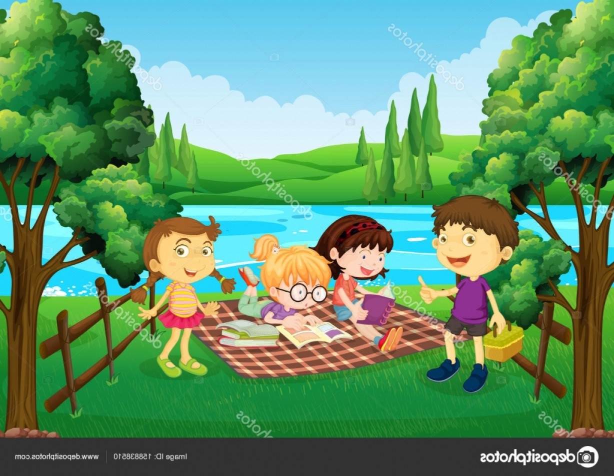 Picnic Vector Scenery: Stock Illustration Children Having Picnic By The