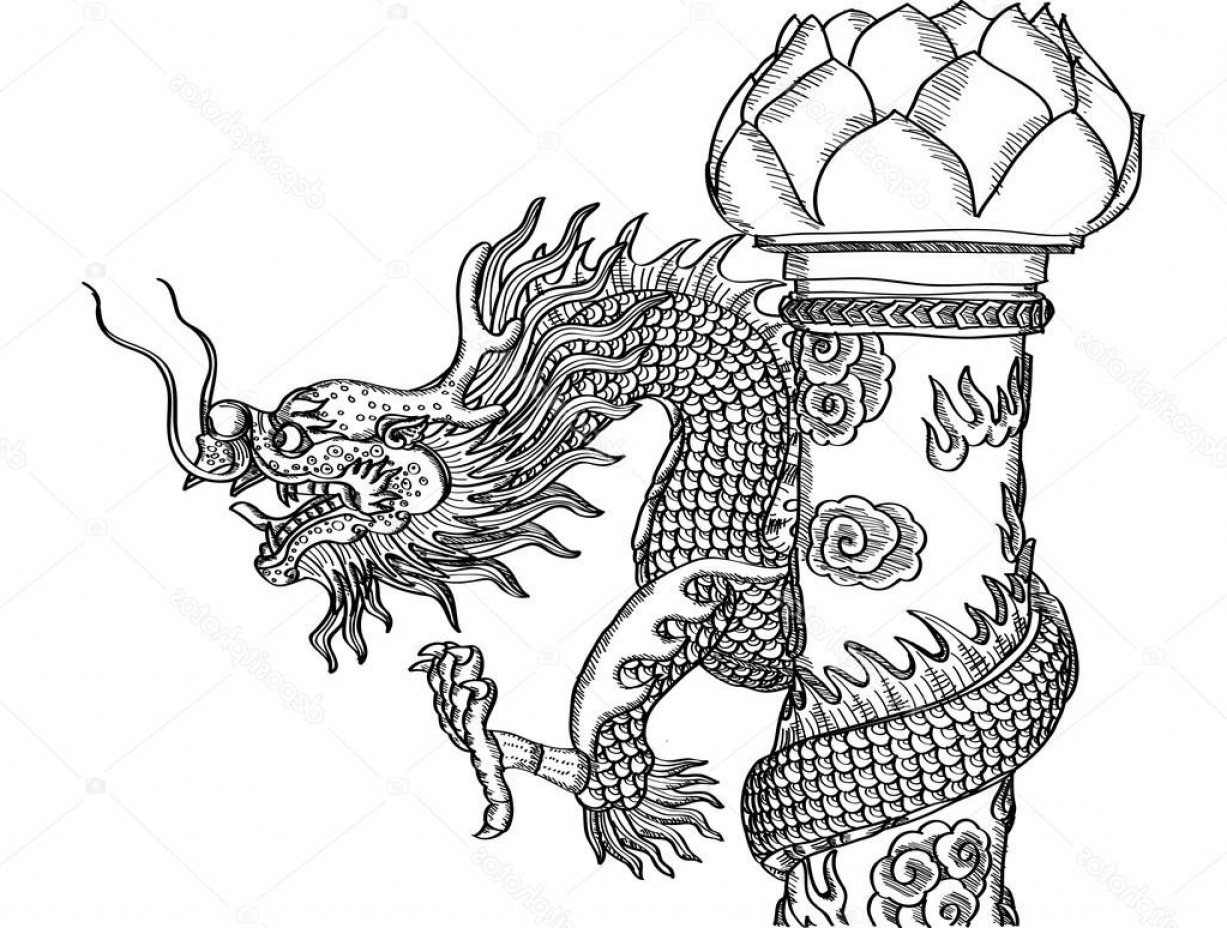 Sacred Heart Vector Genius: Stock Illustration Chinese Style Dragon Statue Vector