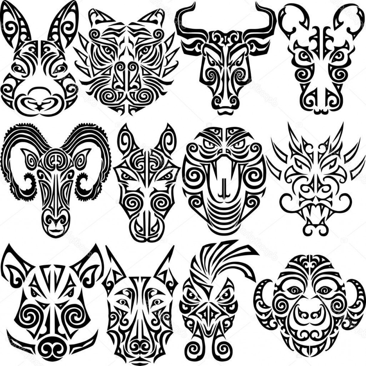 Chinese Zodiac Signs Vector: Stock Illustration Chinese Zodiac Signs Set