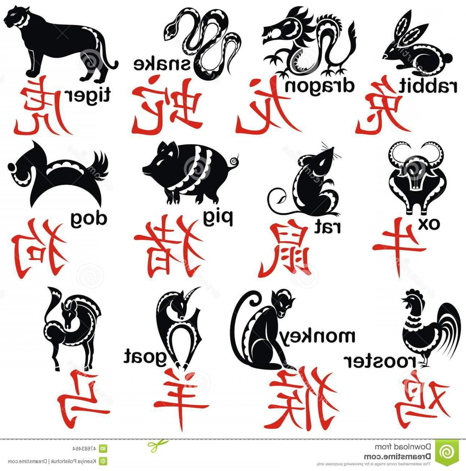 Chinese Zodiac Signs Vector: Stock Illustration Chinese Zodiac Signs Symbols Calligraphy Art Background Image