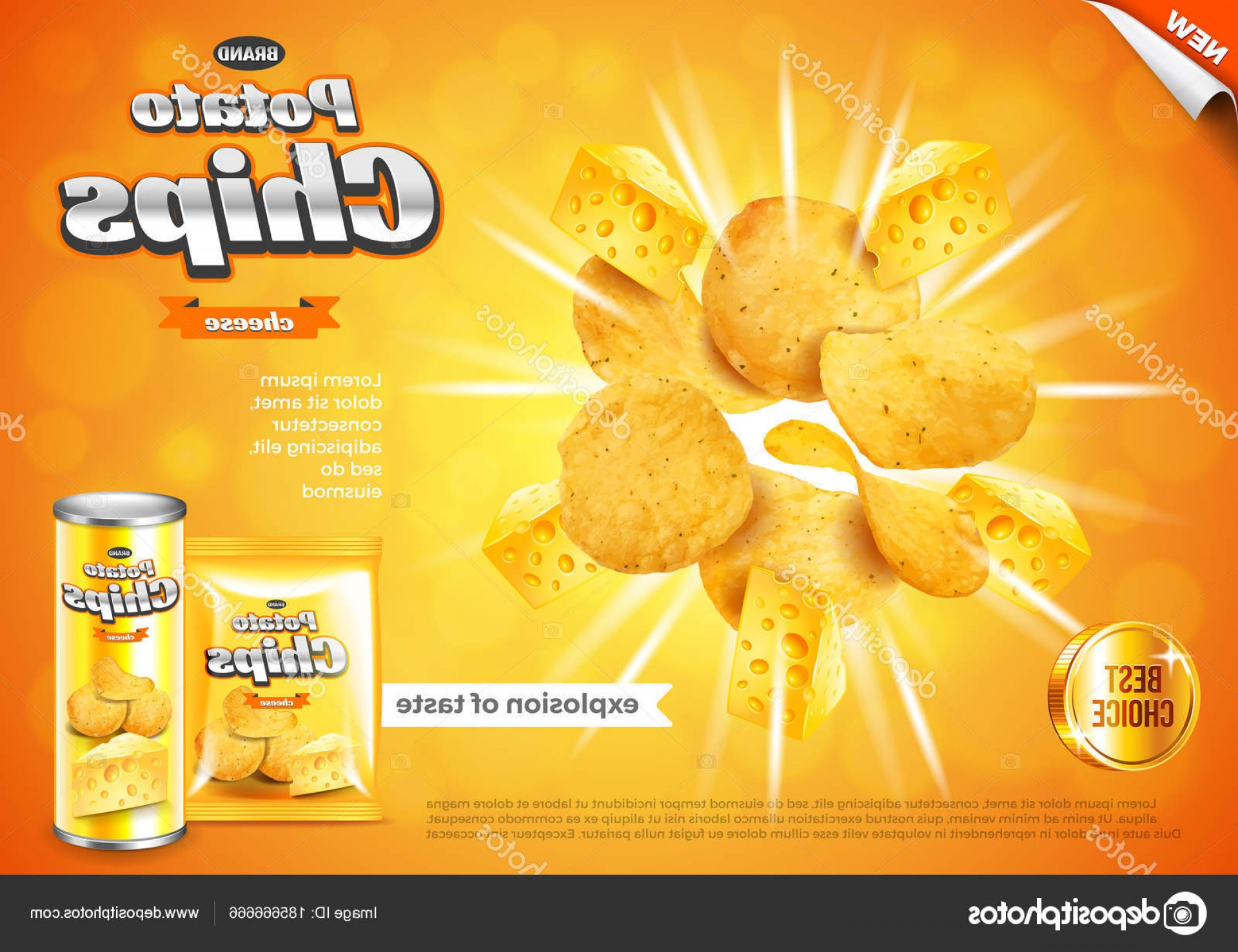Chips Queso Vector: Stock Illustration Chips Ads Cheese Flavour Explosion