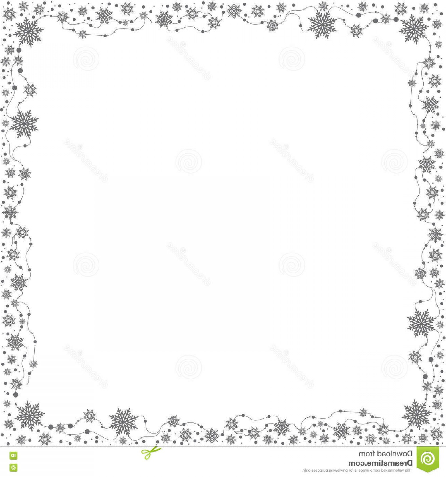 Snowflake Border Vector Art: Stock Illustration Christmas Border Gray Snowflakes White Background Vector Frame Square Size Image