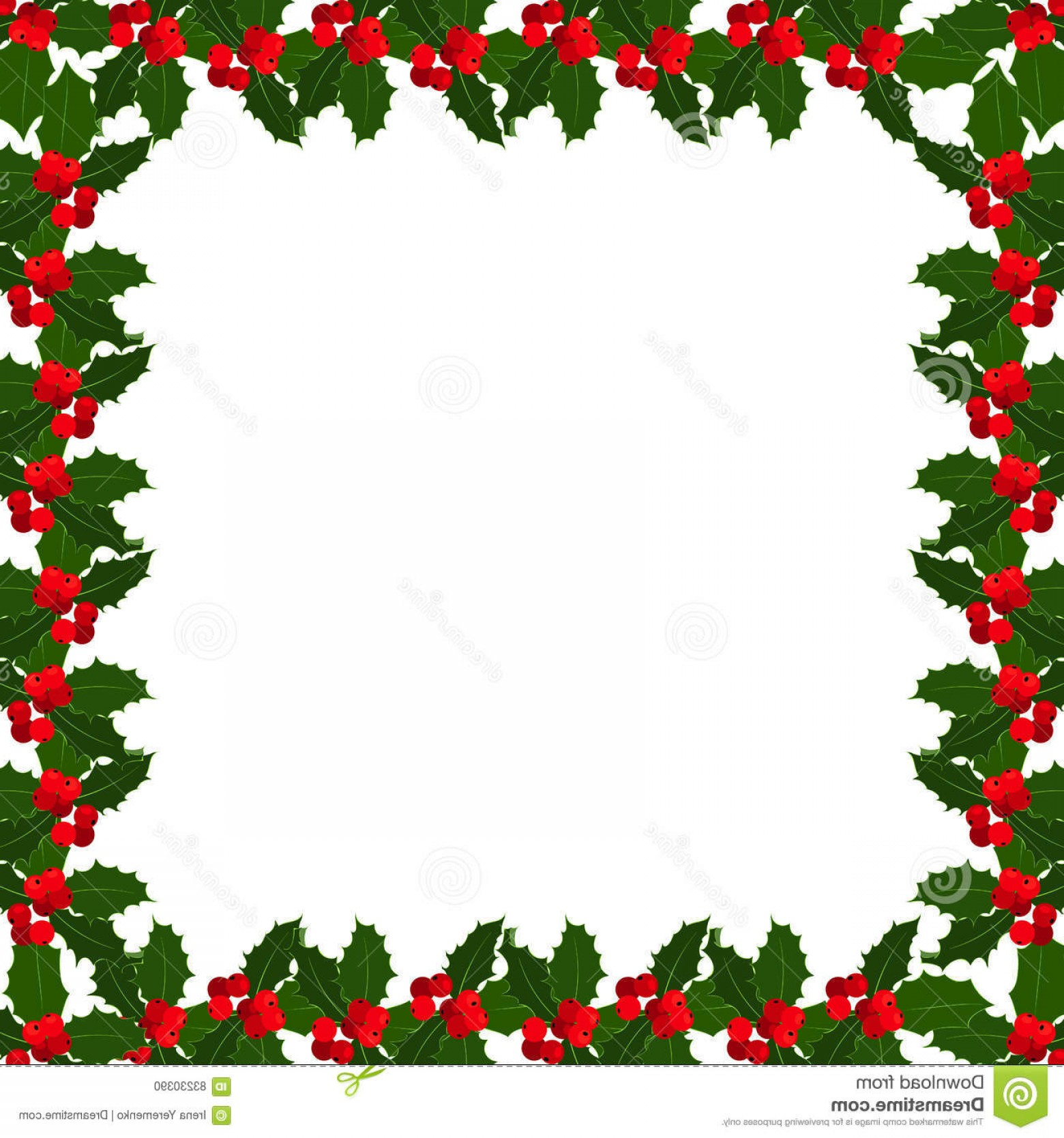 Christmas Holly Border Vector: Stock Illustration Christmas Holly Berries Frame White Bacground Vector Illustration Berry Border Image